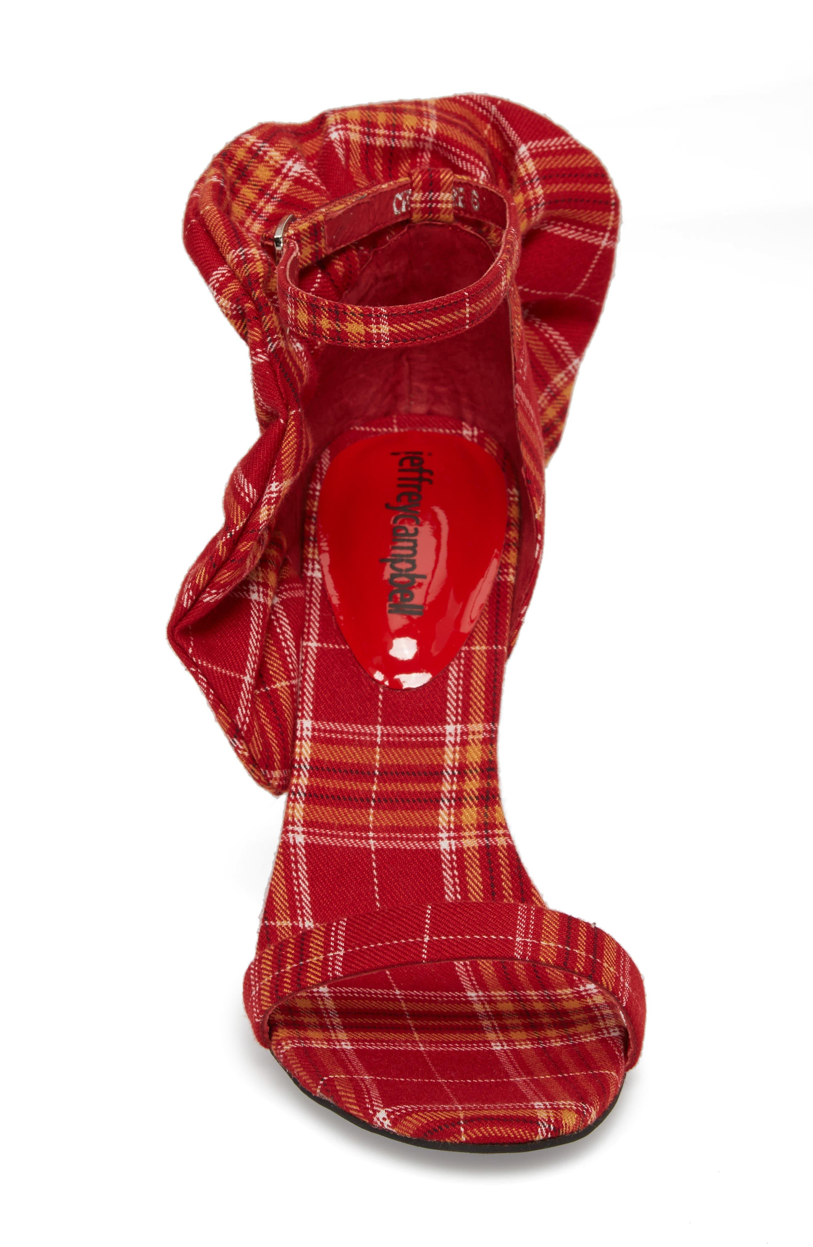 Cheshire Ruffle Sandal,                             Alternate thumbnail 4, color,                             Red Plaid Fabric