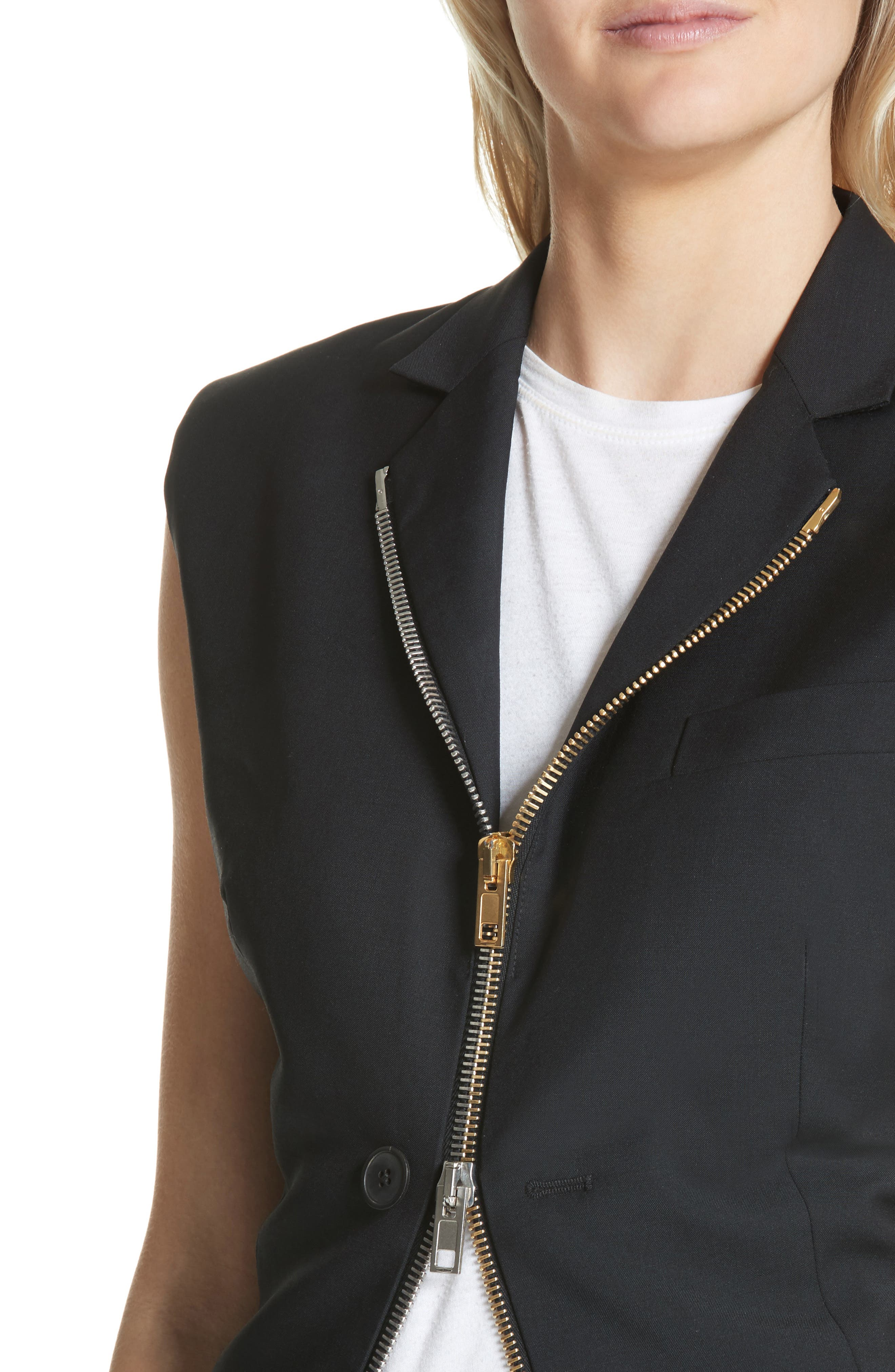 Zip Detail Vest,                             Alternate thumbnail 4, color,                             Black