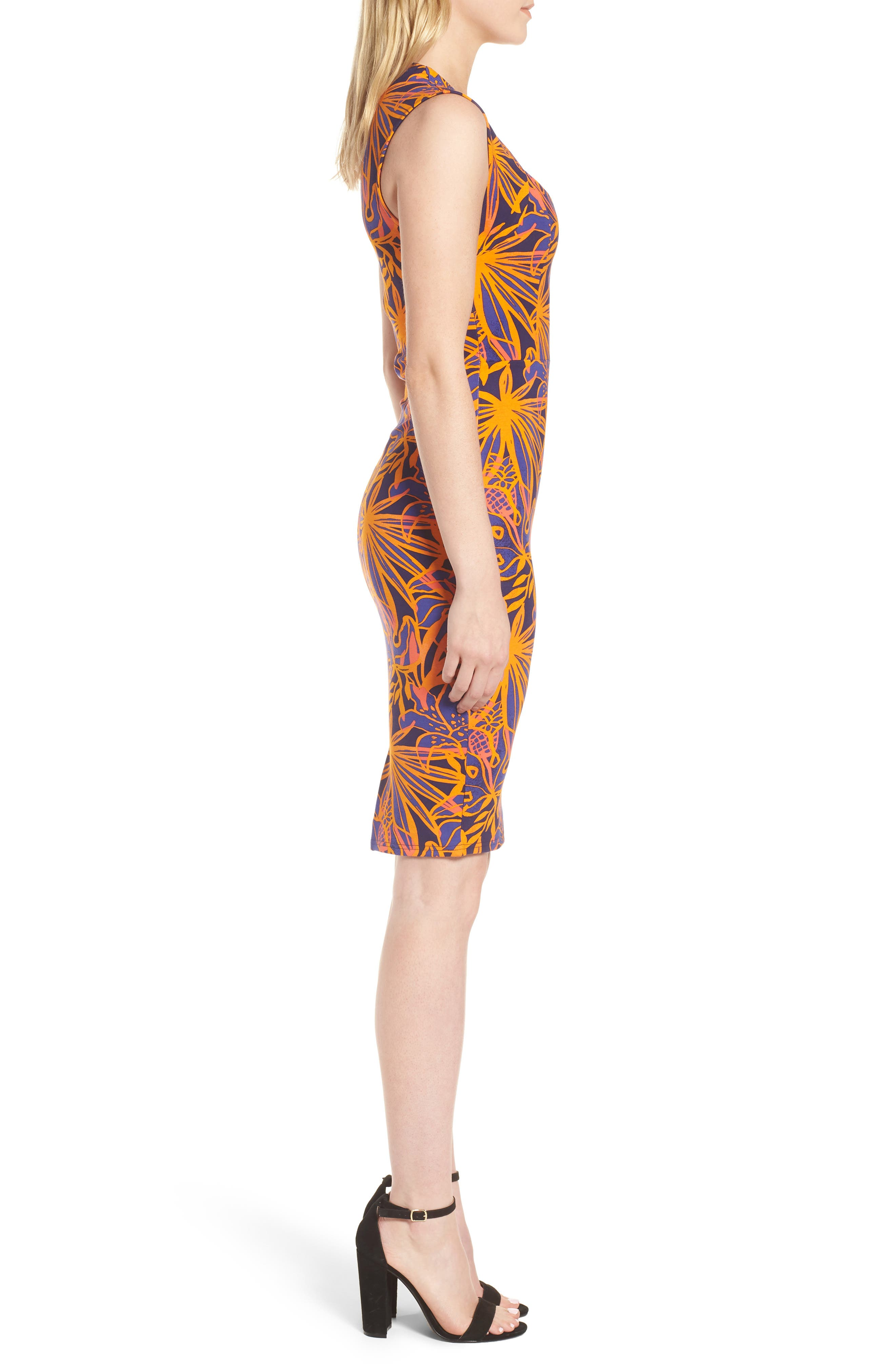 Ponte Body-Con Dress,                             Alternate thumbnail 3, color,                             Bali Tropical Print