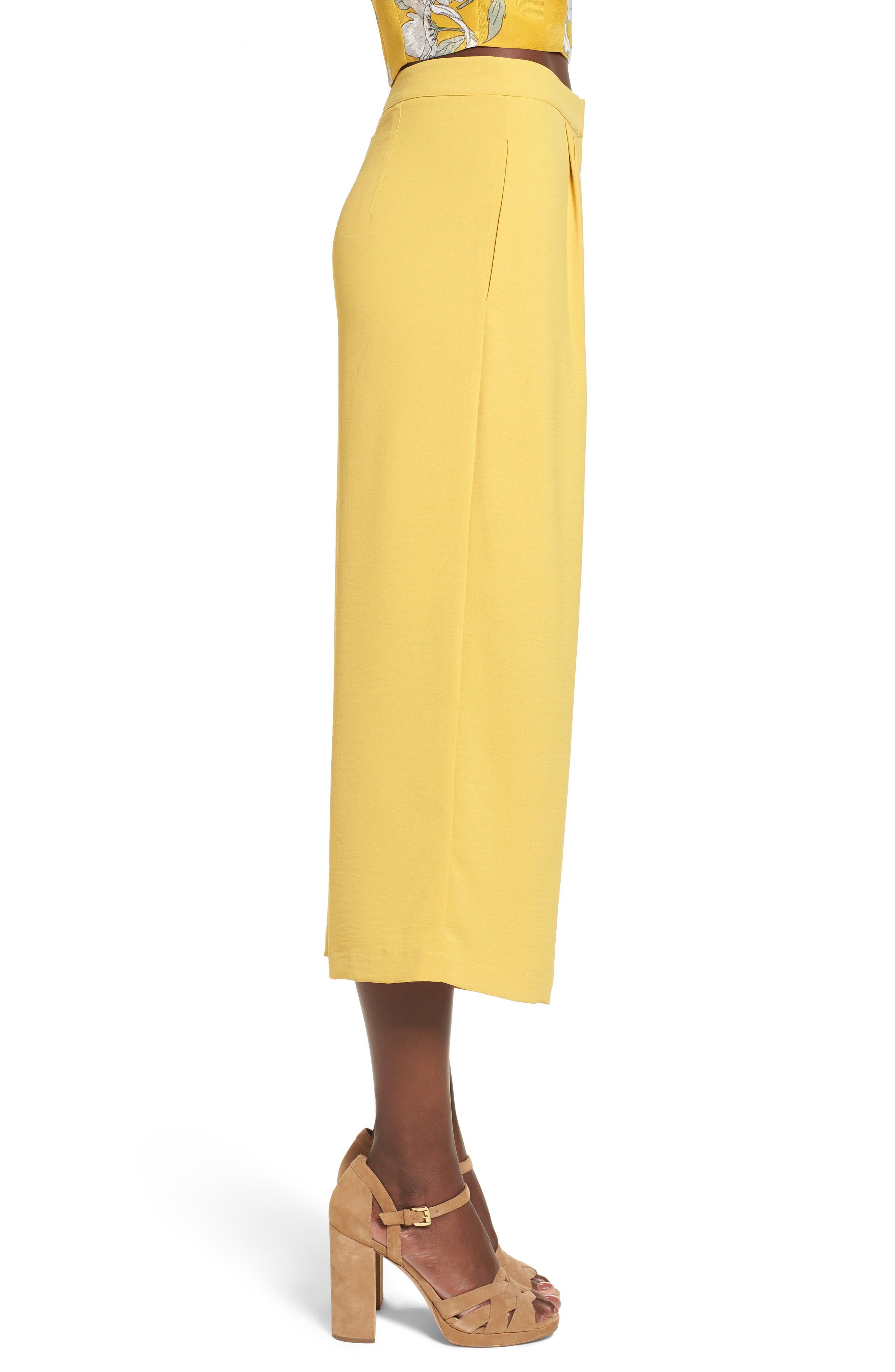 Chriselle x J.O.A. Pleat High Waist Crop Wide Leg Pants,                             Alternate thumbnail 5, color,                             Roman Gold