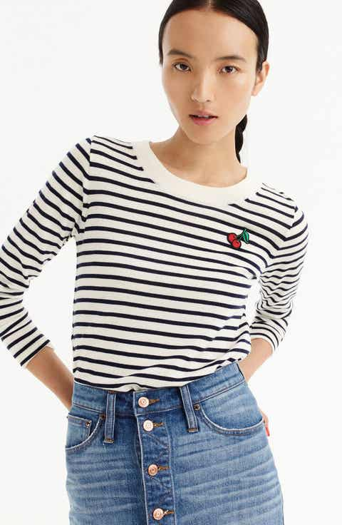 J.Crew Stripe Tippi Wool Sweater with Cherry Patch