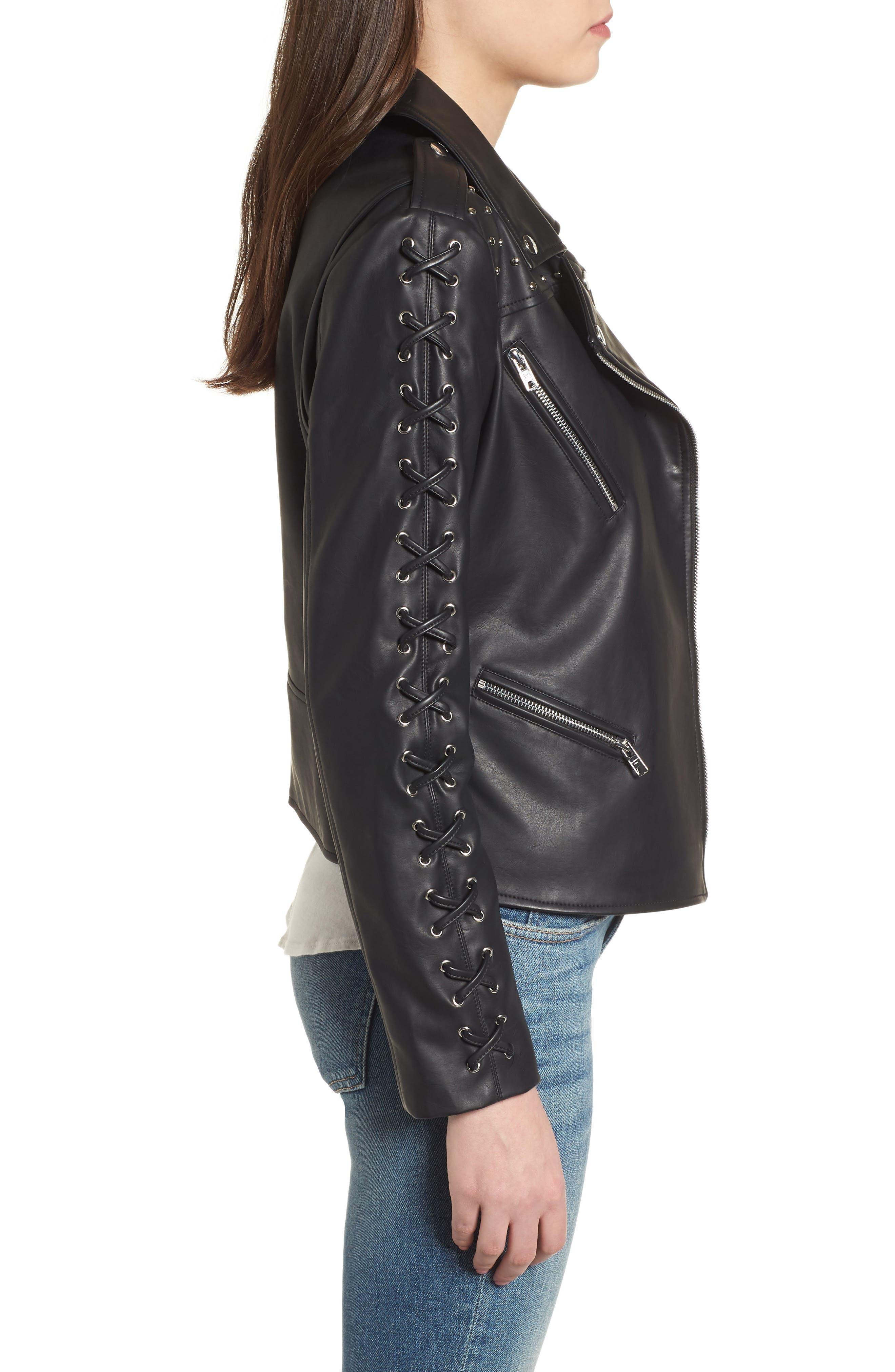 Faux Leather Biker Jacket,                             Alternate thumbnail 3, color,                             Black