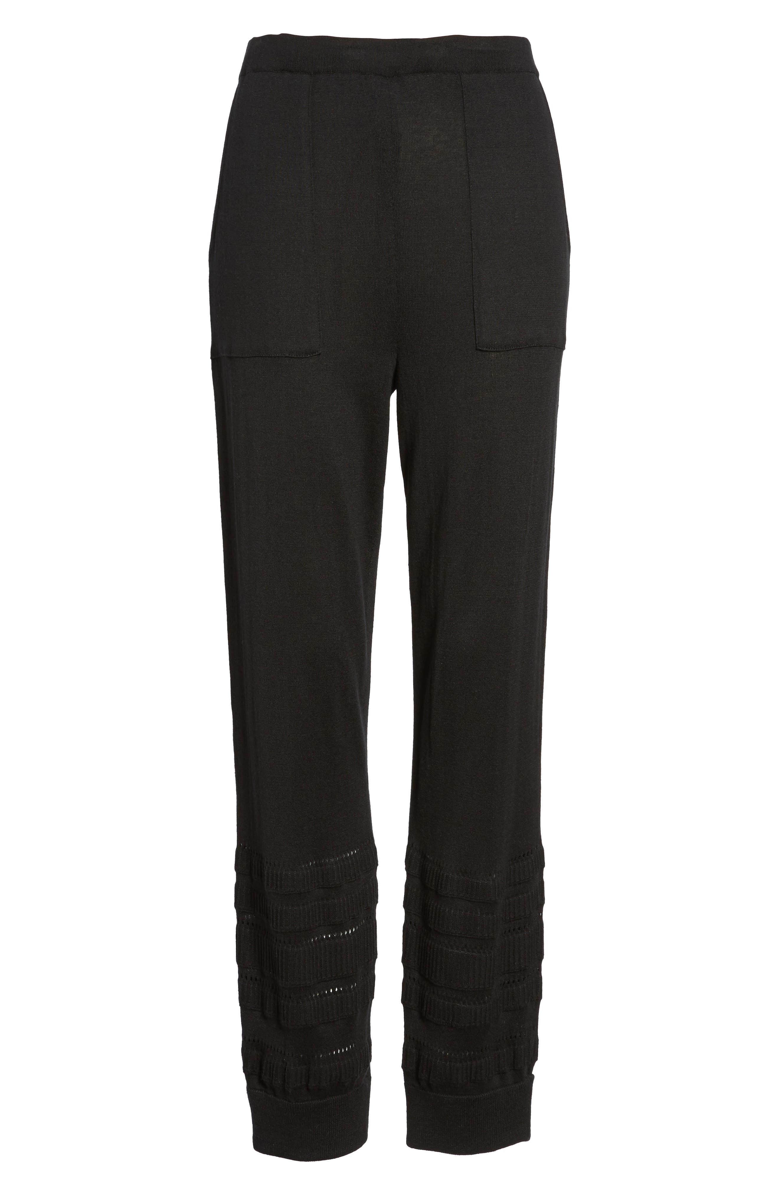Knit Ankle Pants,                             Alternate thumbnail 7, color,                             Black