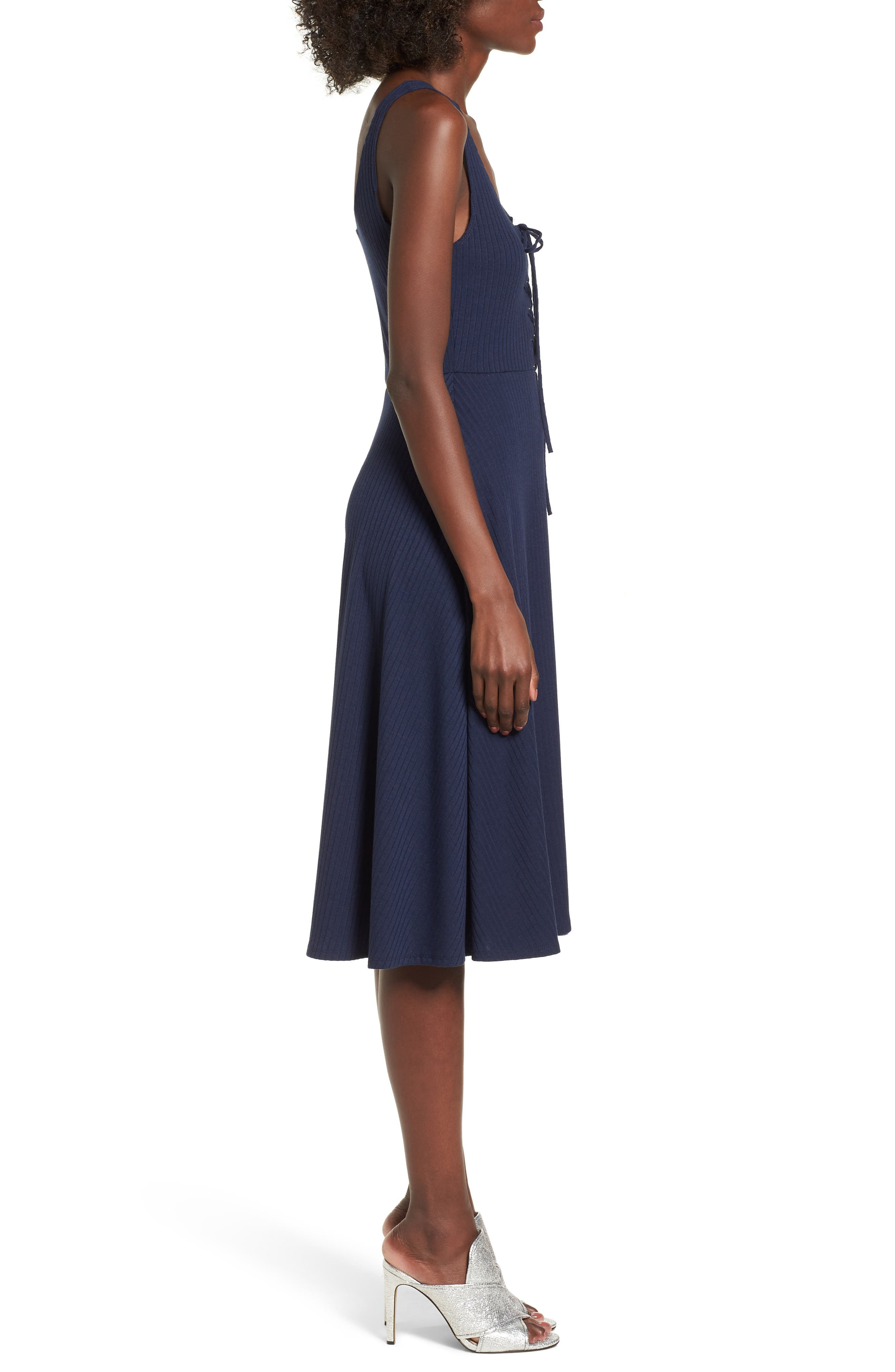 Fawn Lace-Up Midi Dress,                             Alternate thumbnail 3, color,                             Navy