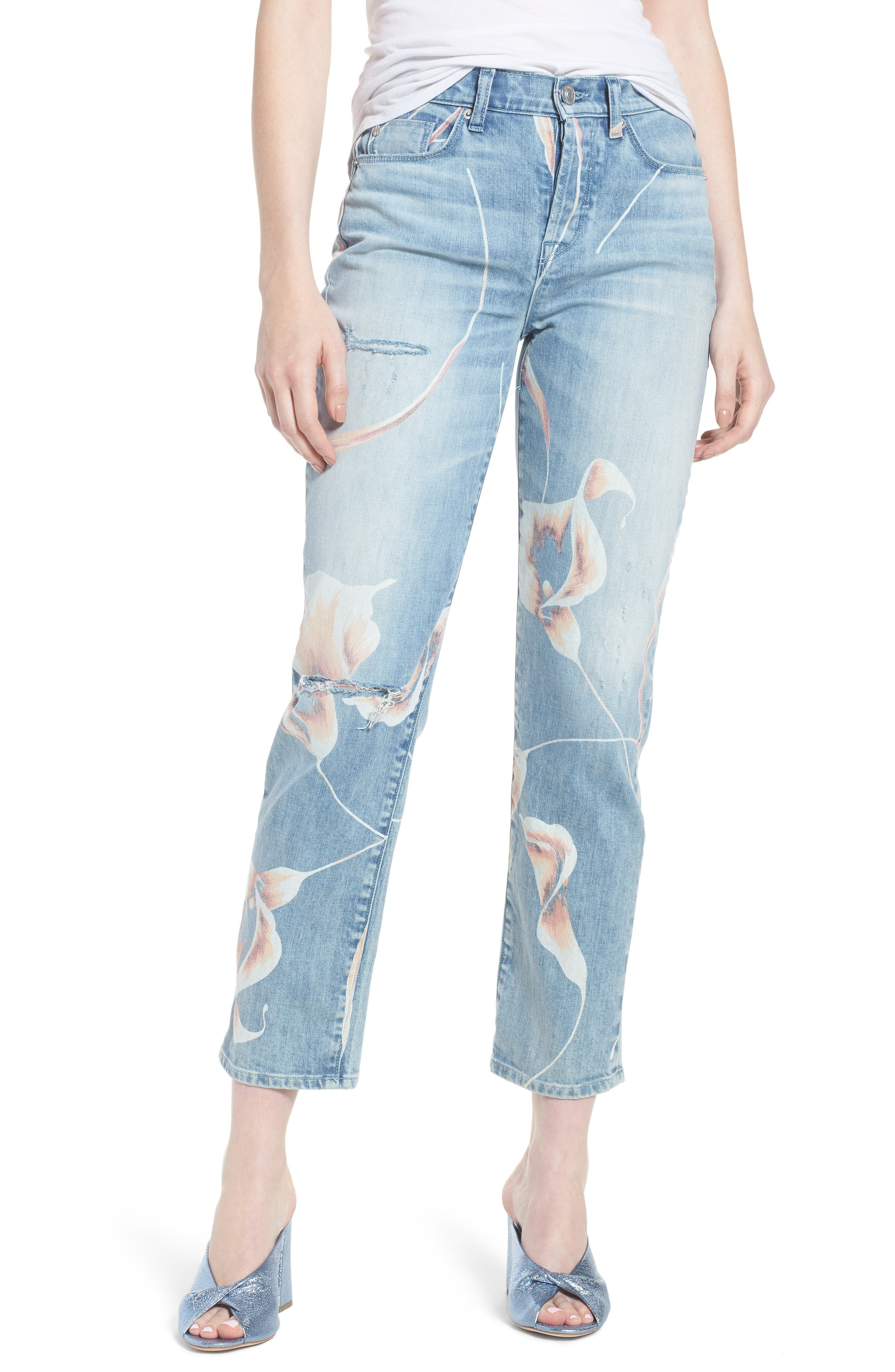Zoeey High Waist Ankle Straight Leg Jeans,                         Main,                         color, In Bloom
