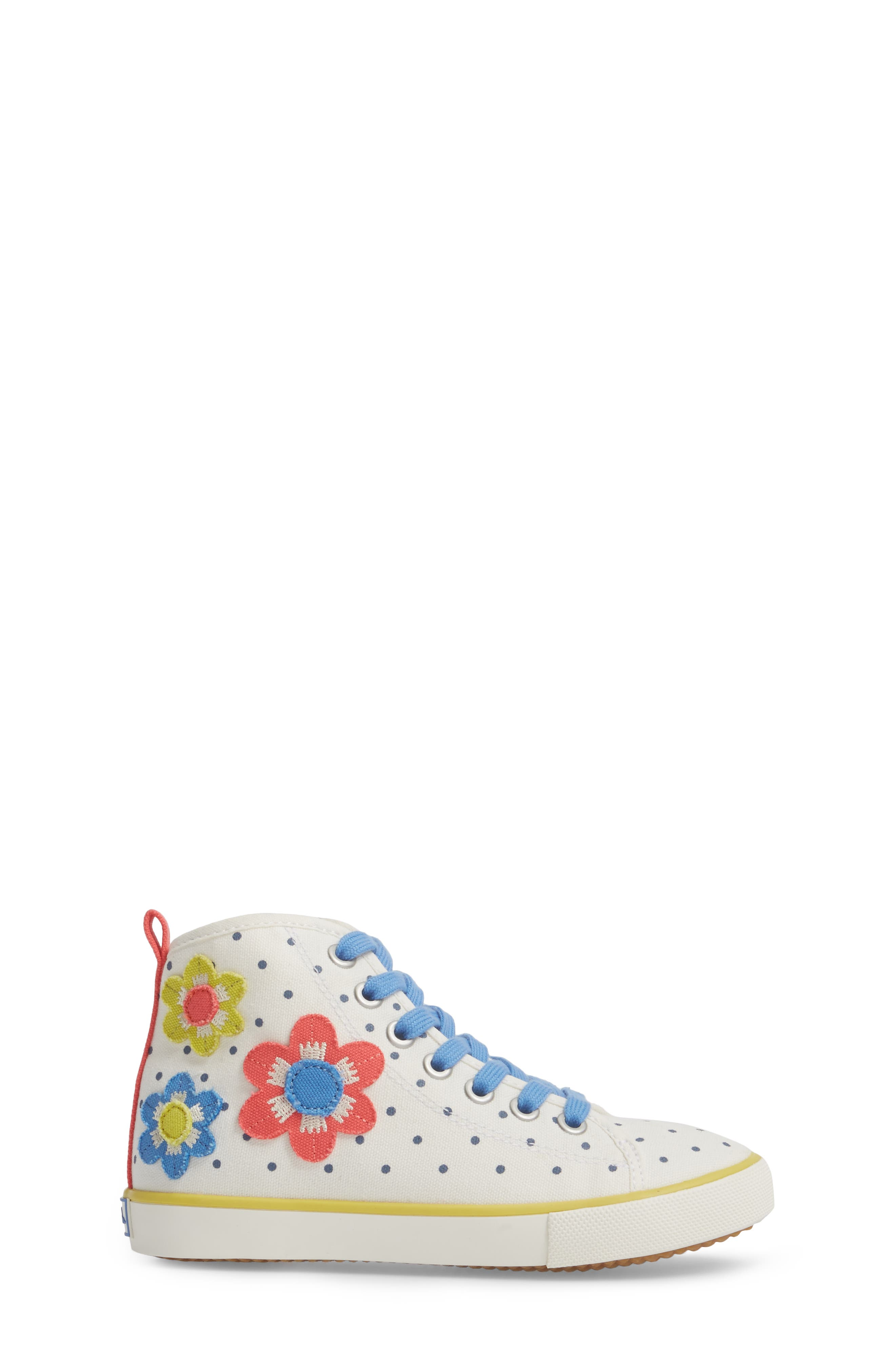 Appliqué High Top Sneaker,                             Alternate thumbnail 3, color,                             Ecru Flowers