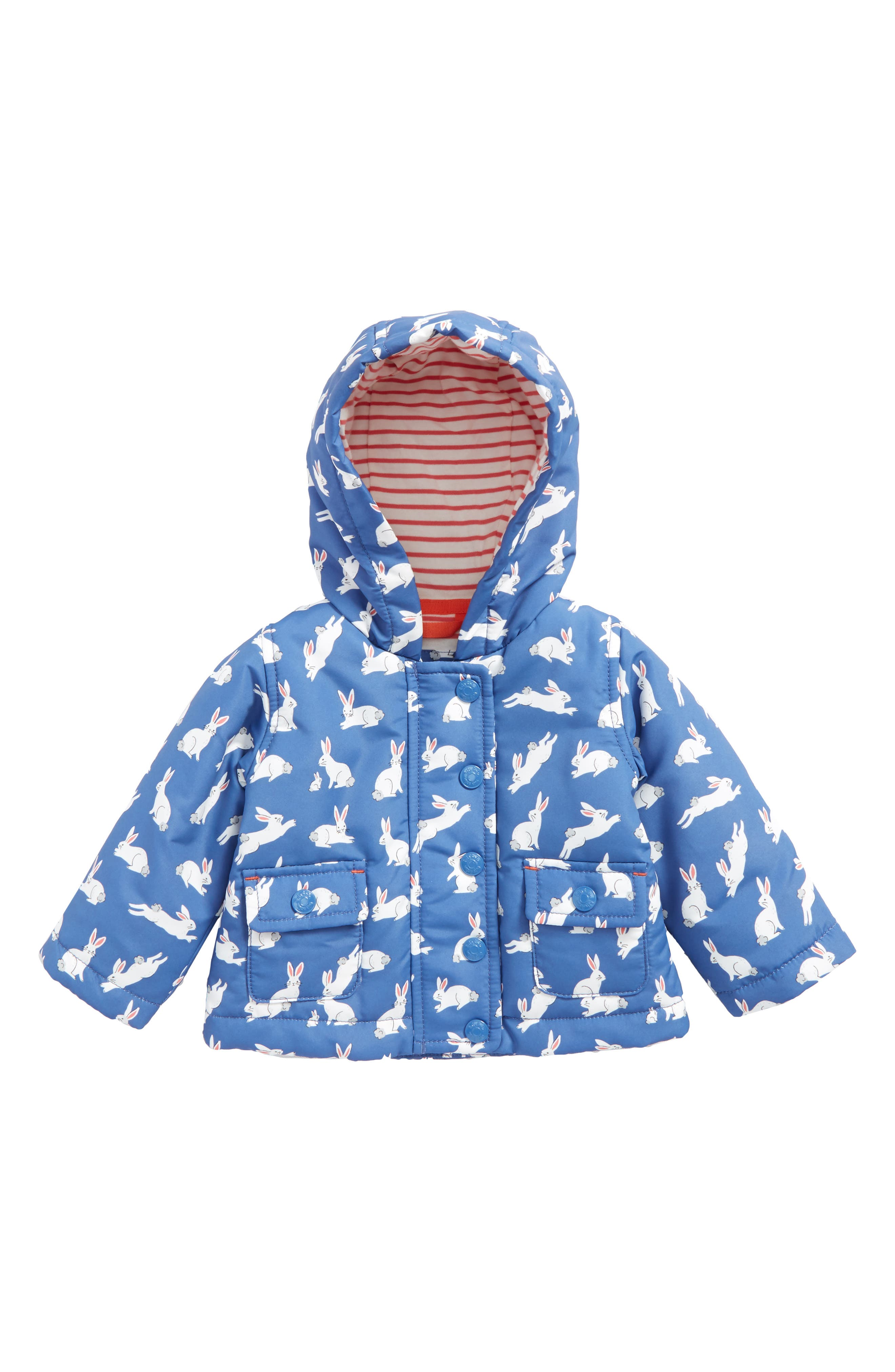 Main Image - Mini Boden Bunny Print Water-Resistant Hooded Coat (Baby Girls)