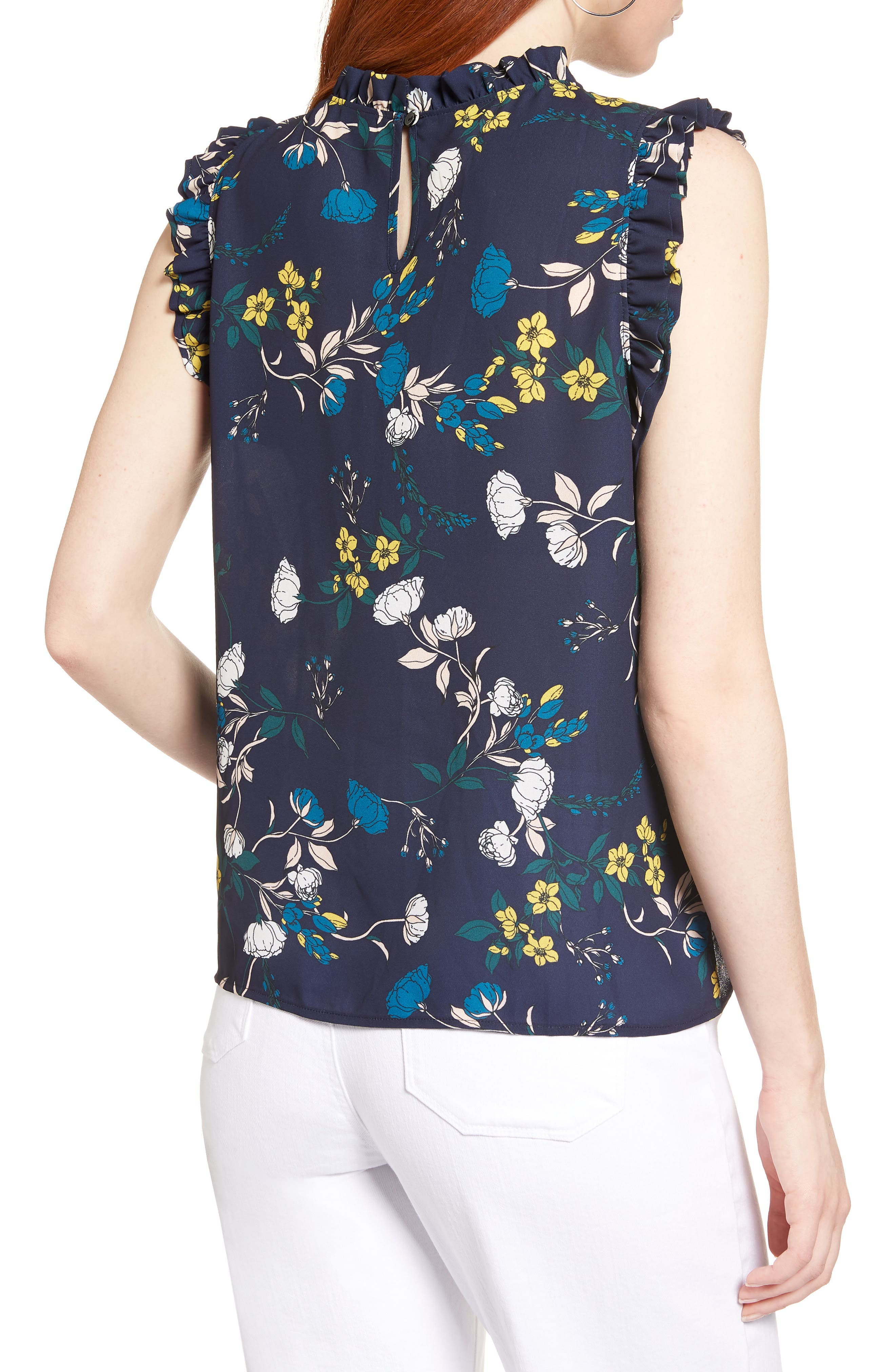 Ruffle Trim Shell Top,                             Alternate thumbnail 2, color,                             Navy- Ivory Mix Floral