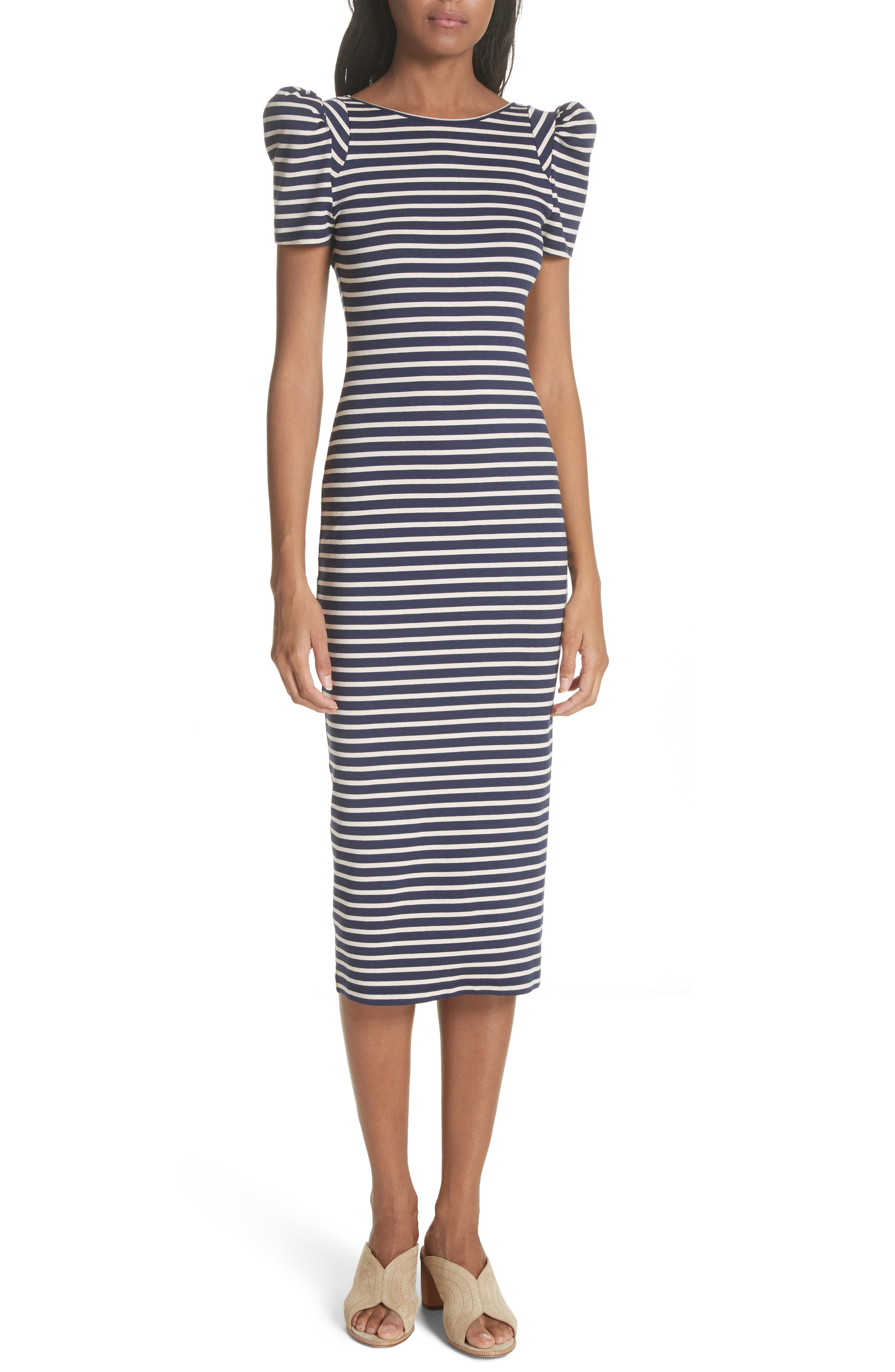 Puff Sleeve Body-Con Midi Dress,                         Main,                         color, Navy Breton Stripe