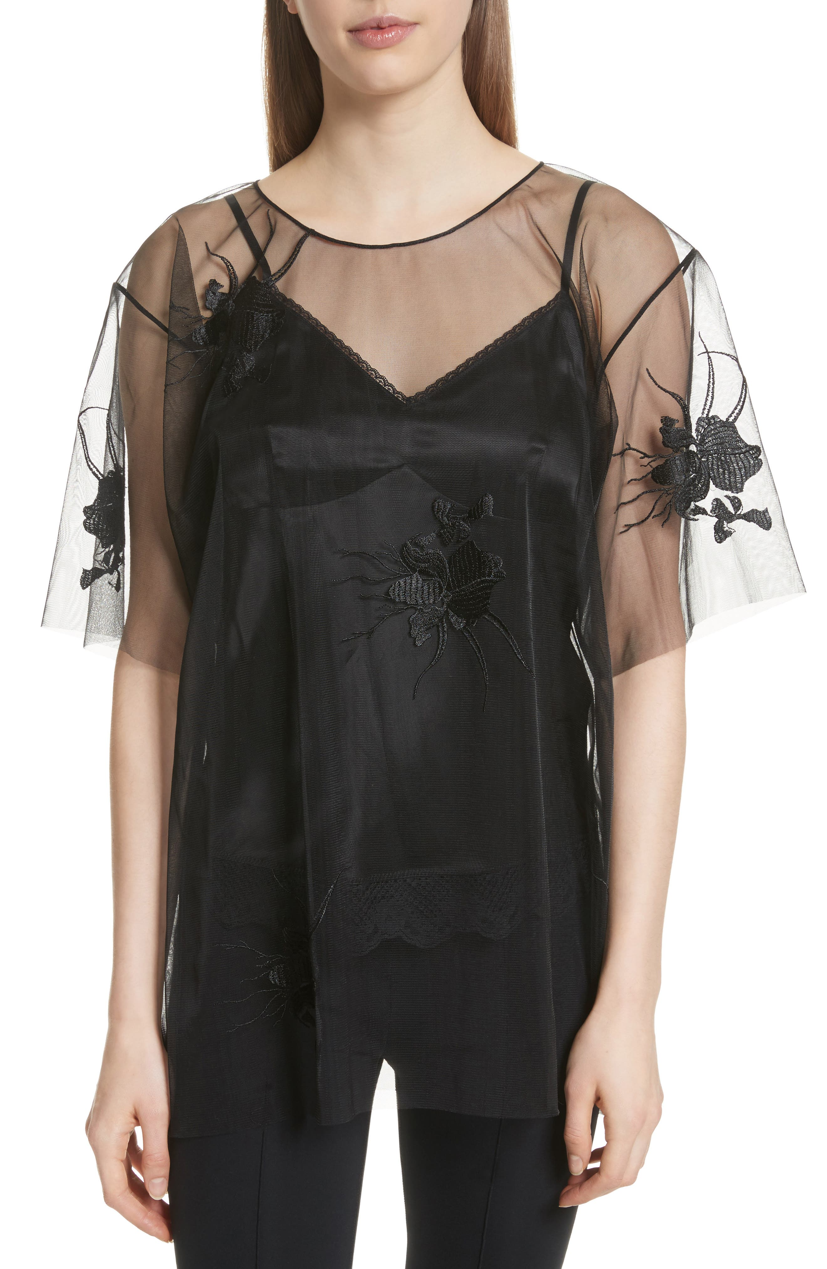 Orchid Embroidered Mesh Top,                         Main,                         color, Black/ Black