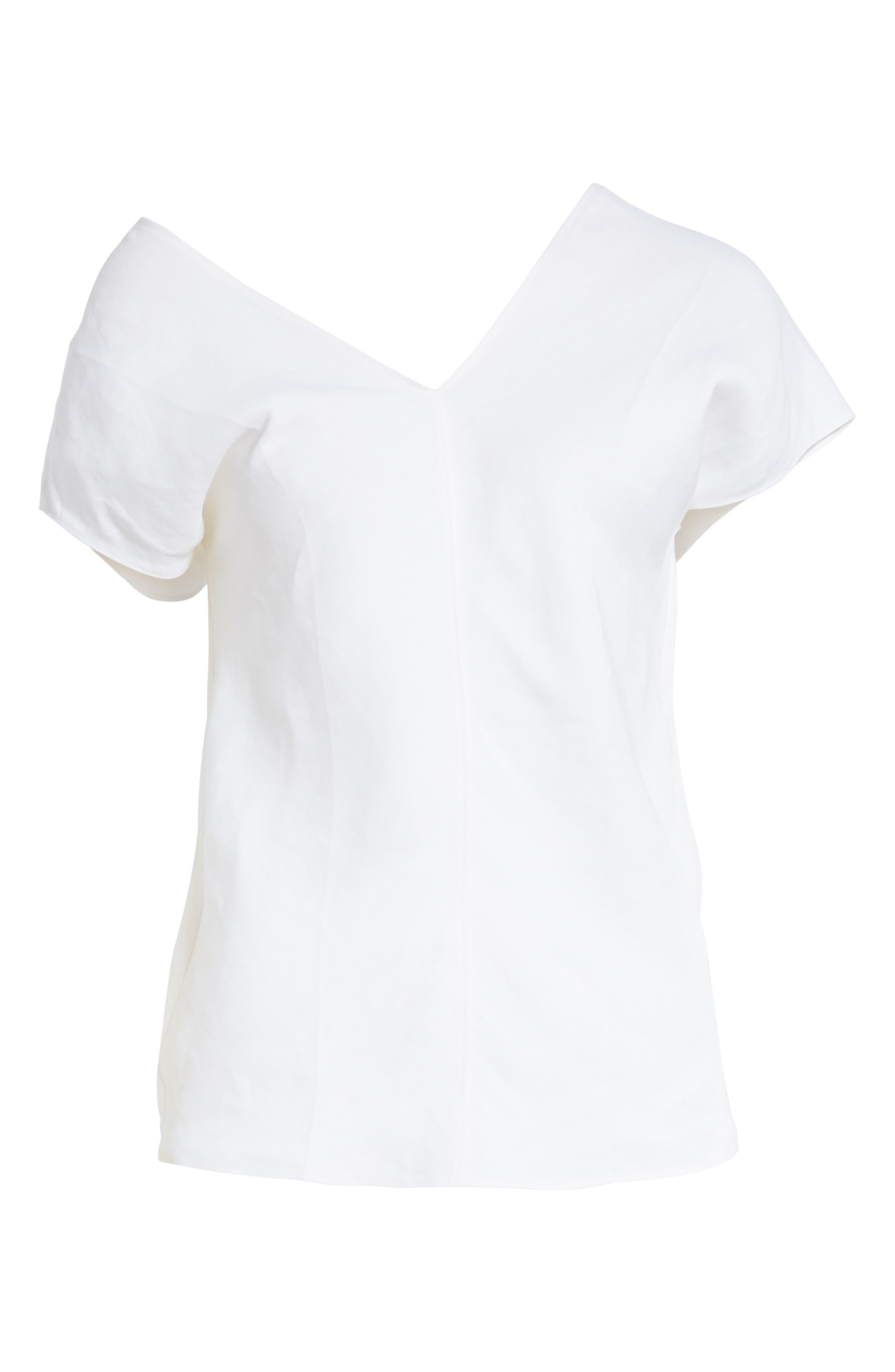 One-Shoulder Linen Blend Top,                             Alternate thumbnail 6, color,                             Optic White