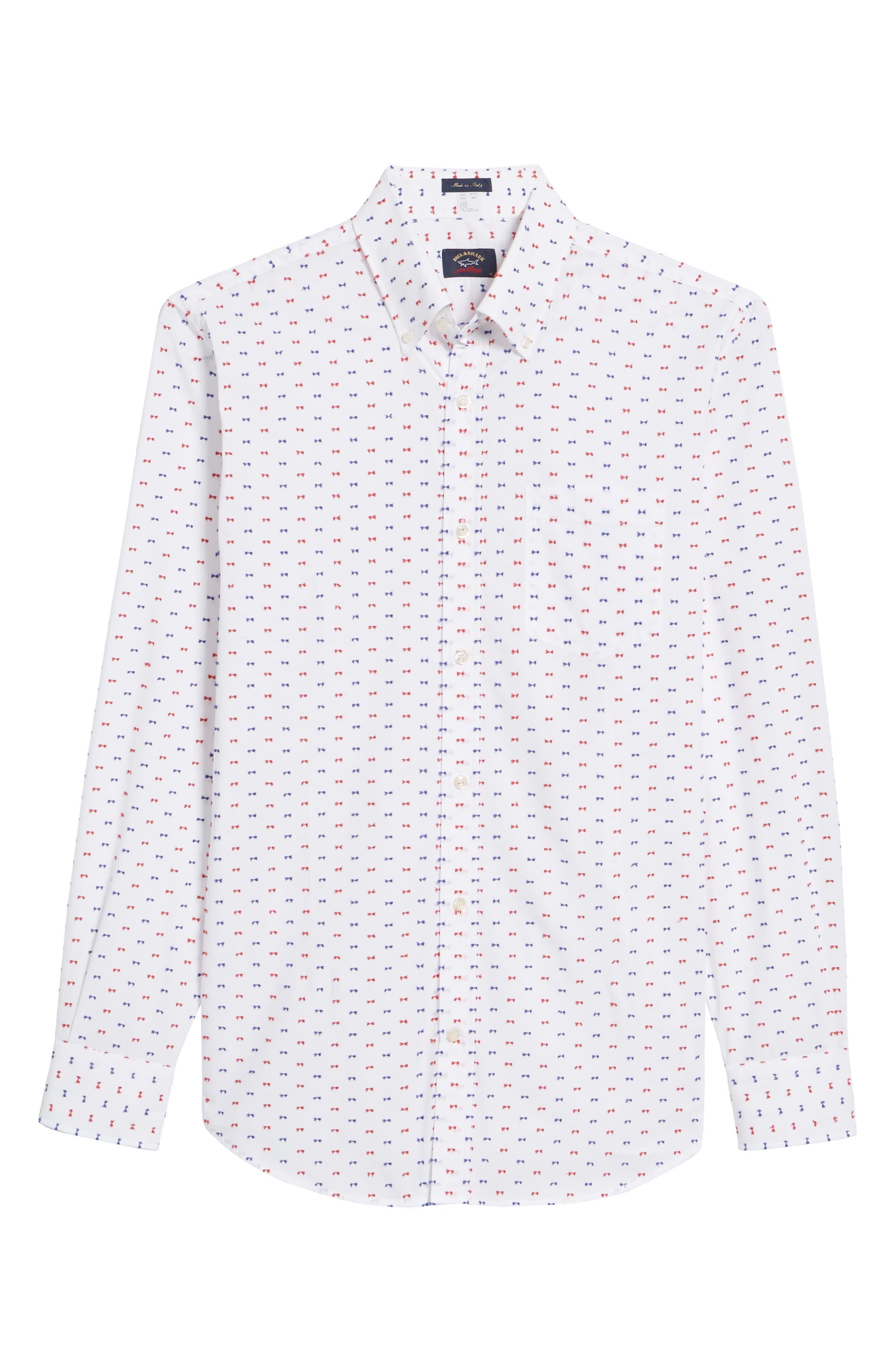 Paul&Shark Regular Fit Feathered Sport Shirt,                             Alternate thumbnail 6, color,                             White