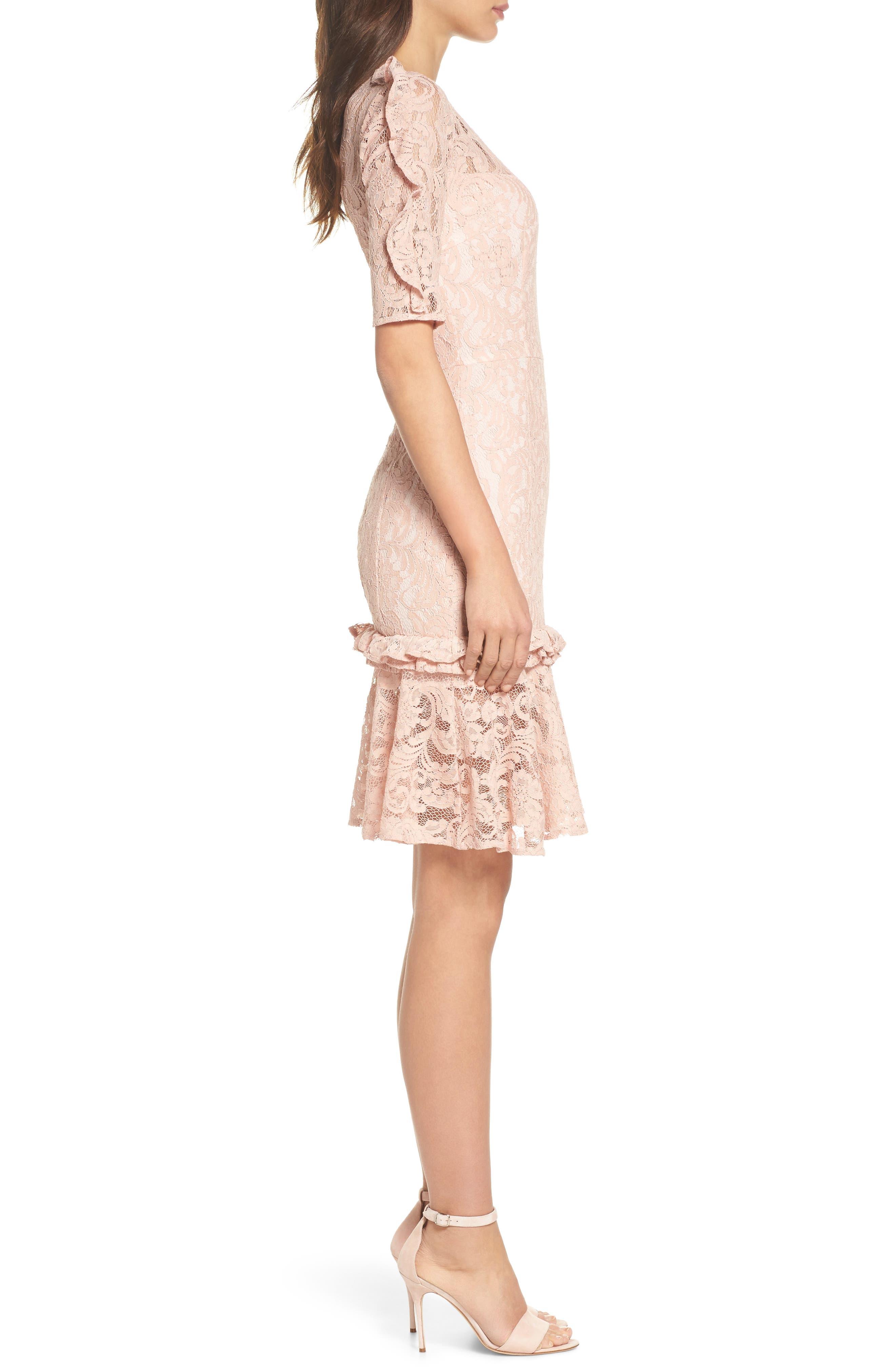 Hushed Dove Lace Dress,                             Alternate thumbnail 3, color,                             Rose Cloud