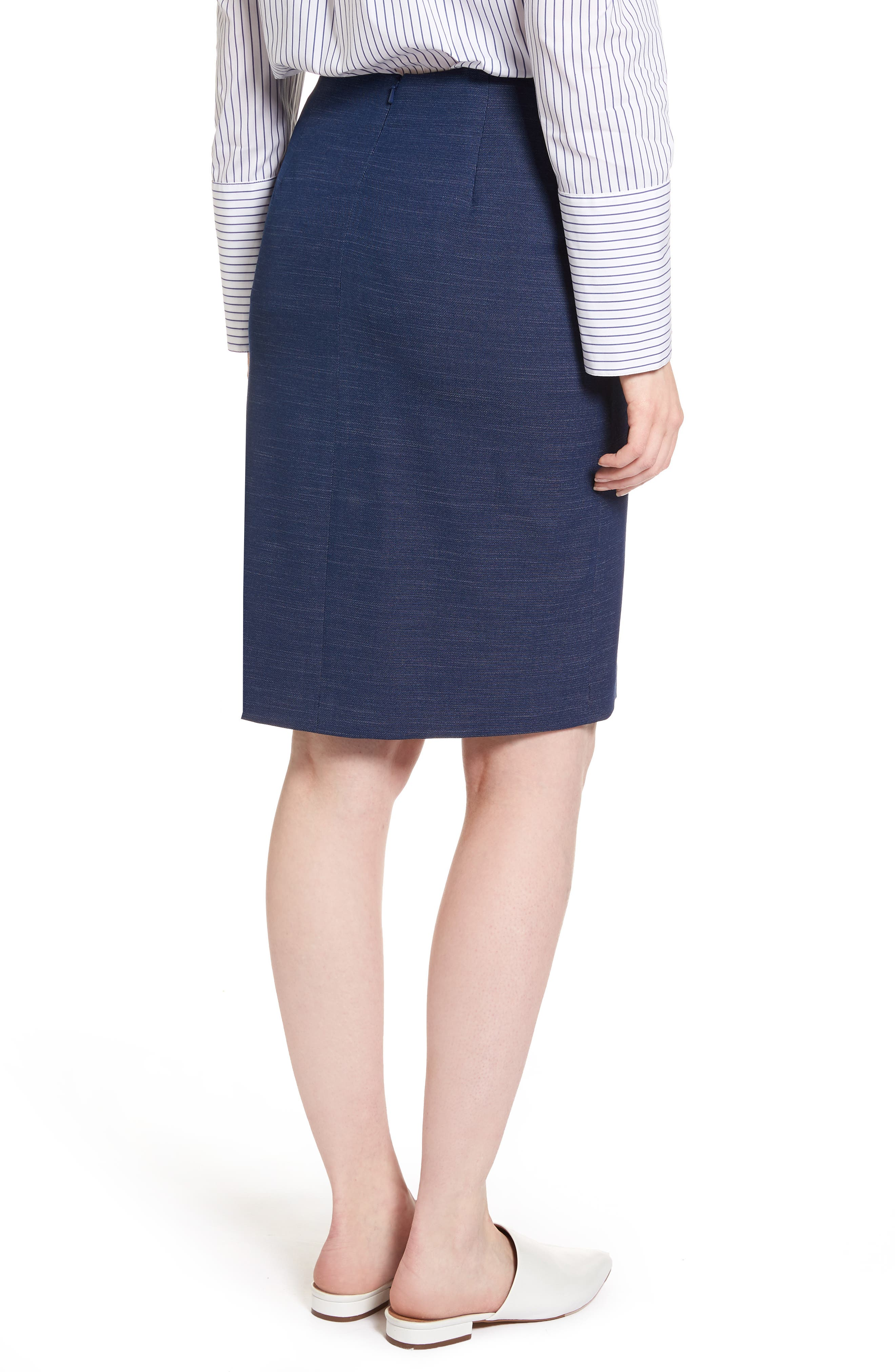 Side Tie Pencil Skirt,                             Alternate thumbnail 2, color,                             Dark Chambray