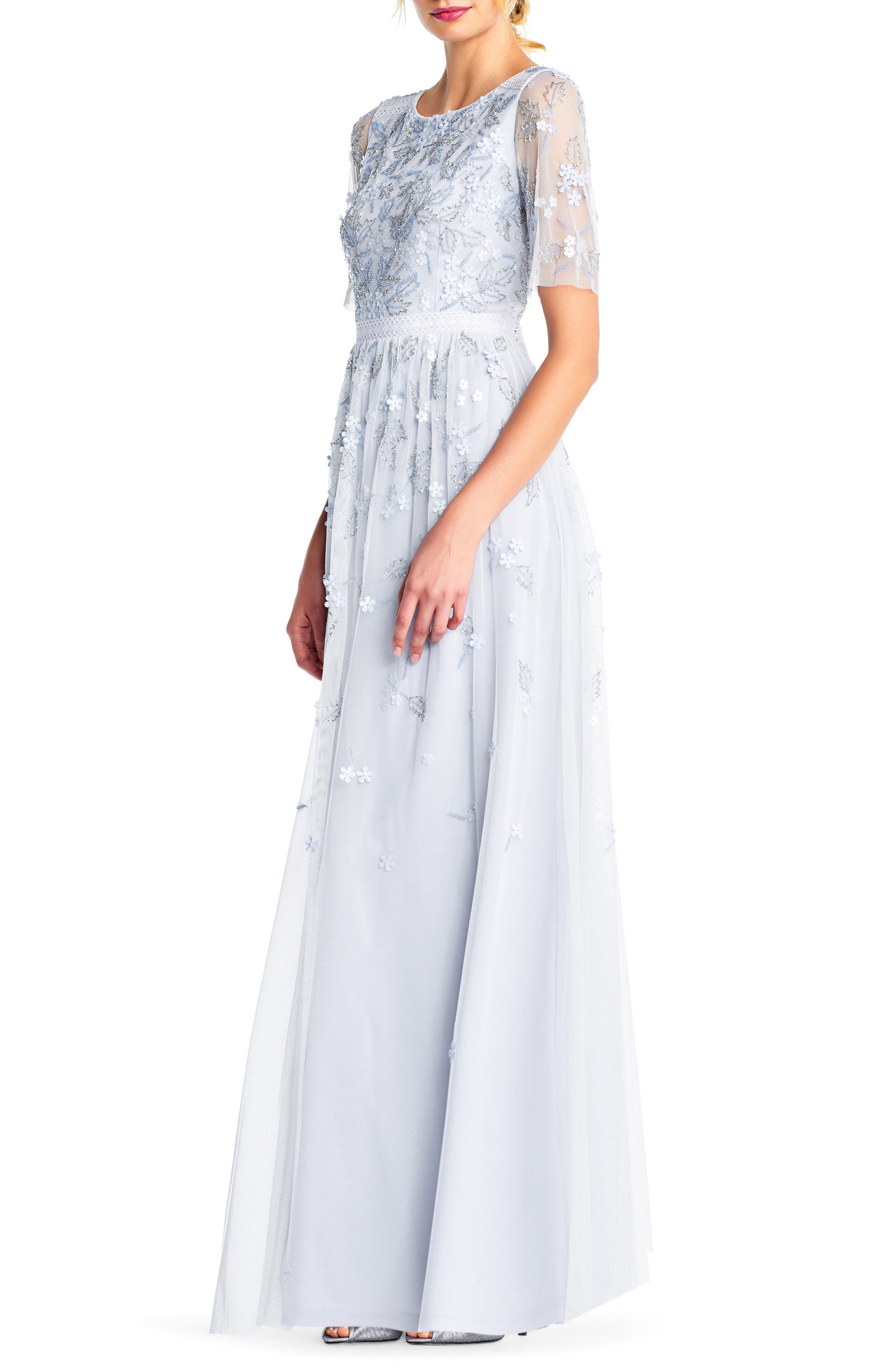 Beaded A-Line Gown,                             Alternate thumbnail 3, color,                             Serenity