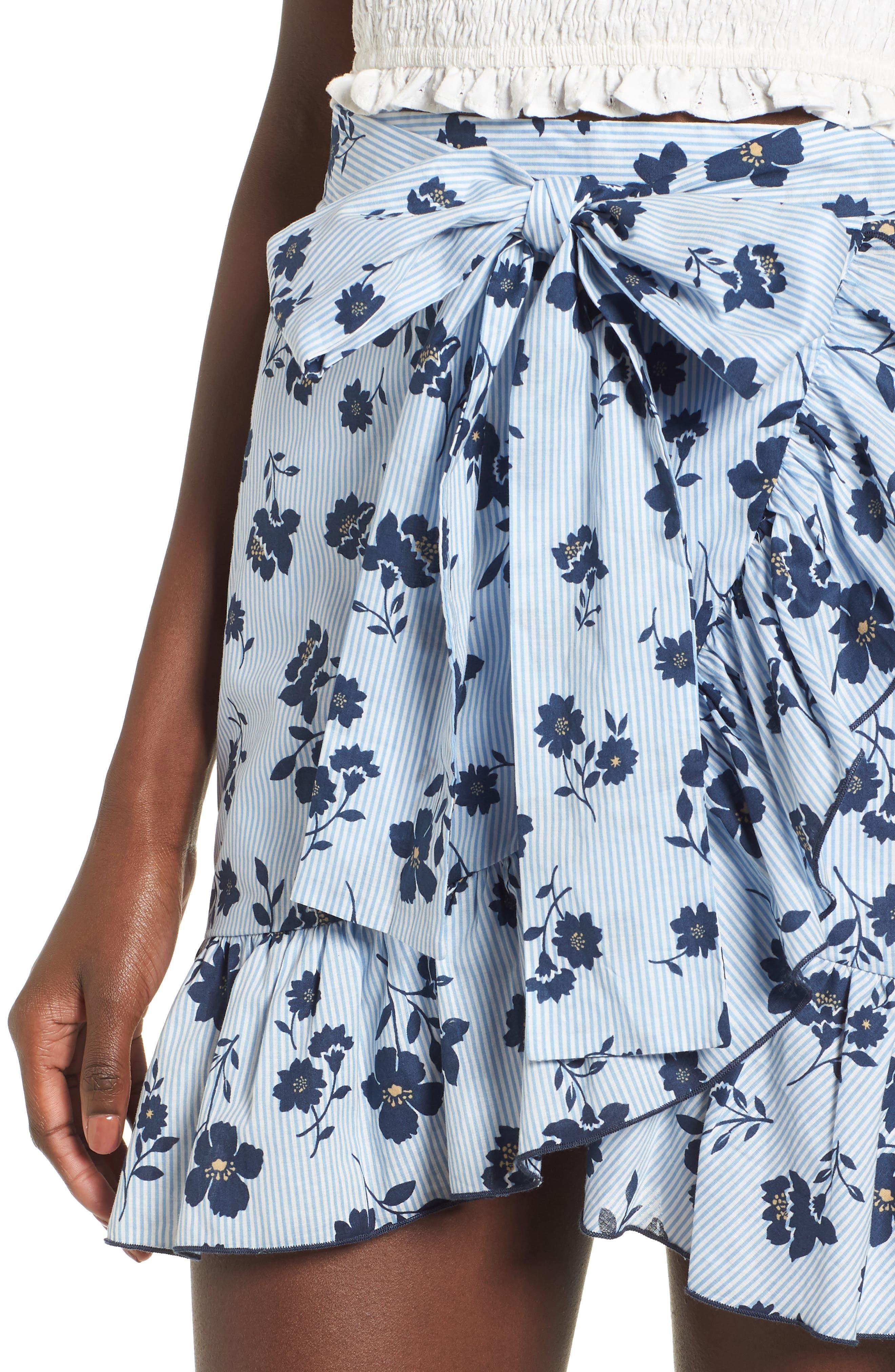 Floral Ruffle Wrap Skirt,                             Alternate thumbnail 5, color,                             Sky Stripe