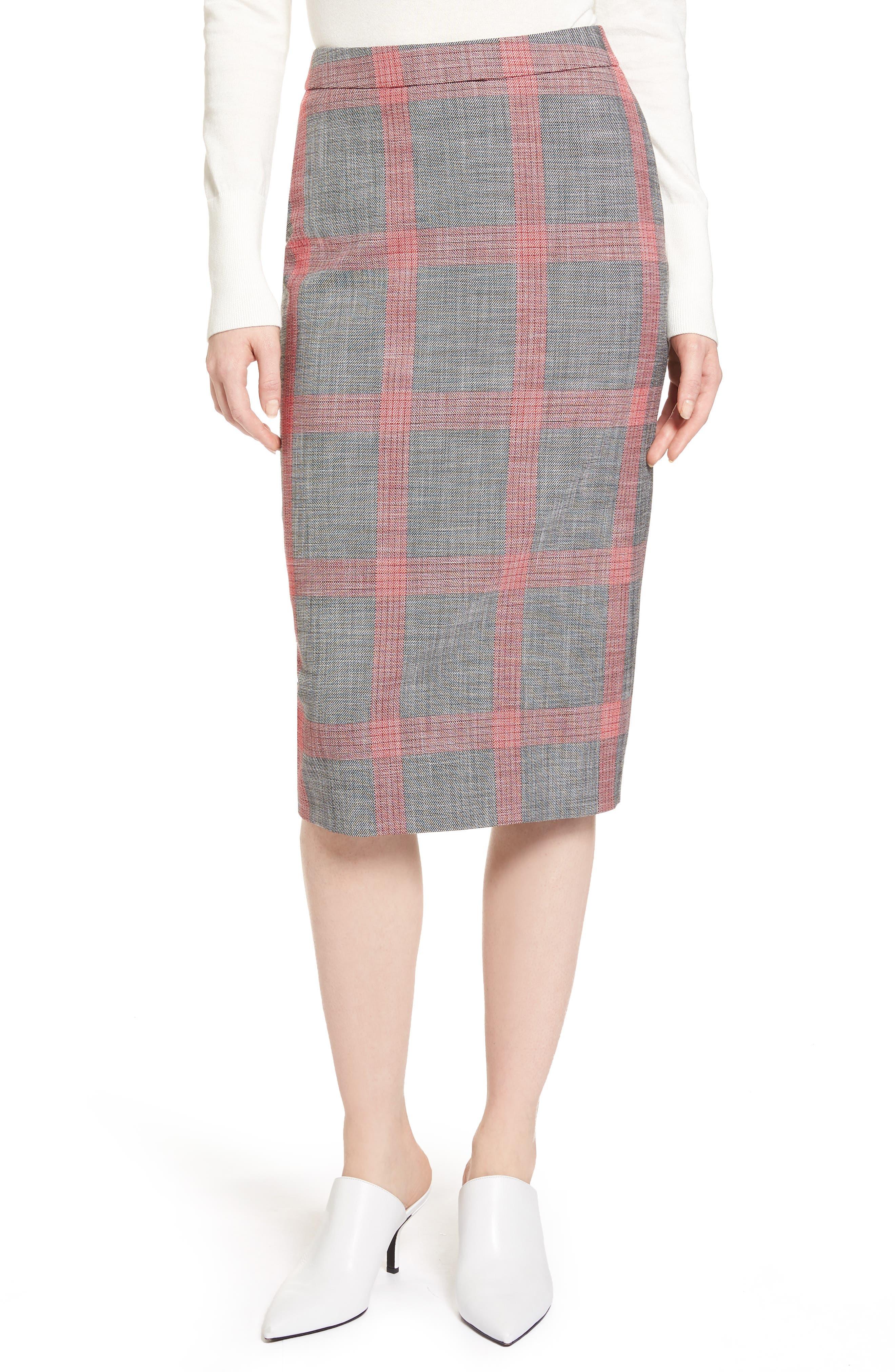 Plaid Pencil Skirt,                             Main thumbnail 1, color,                             Black- Red Plaid