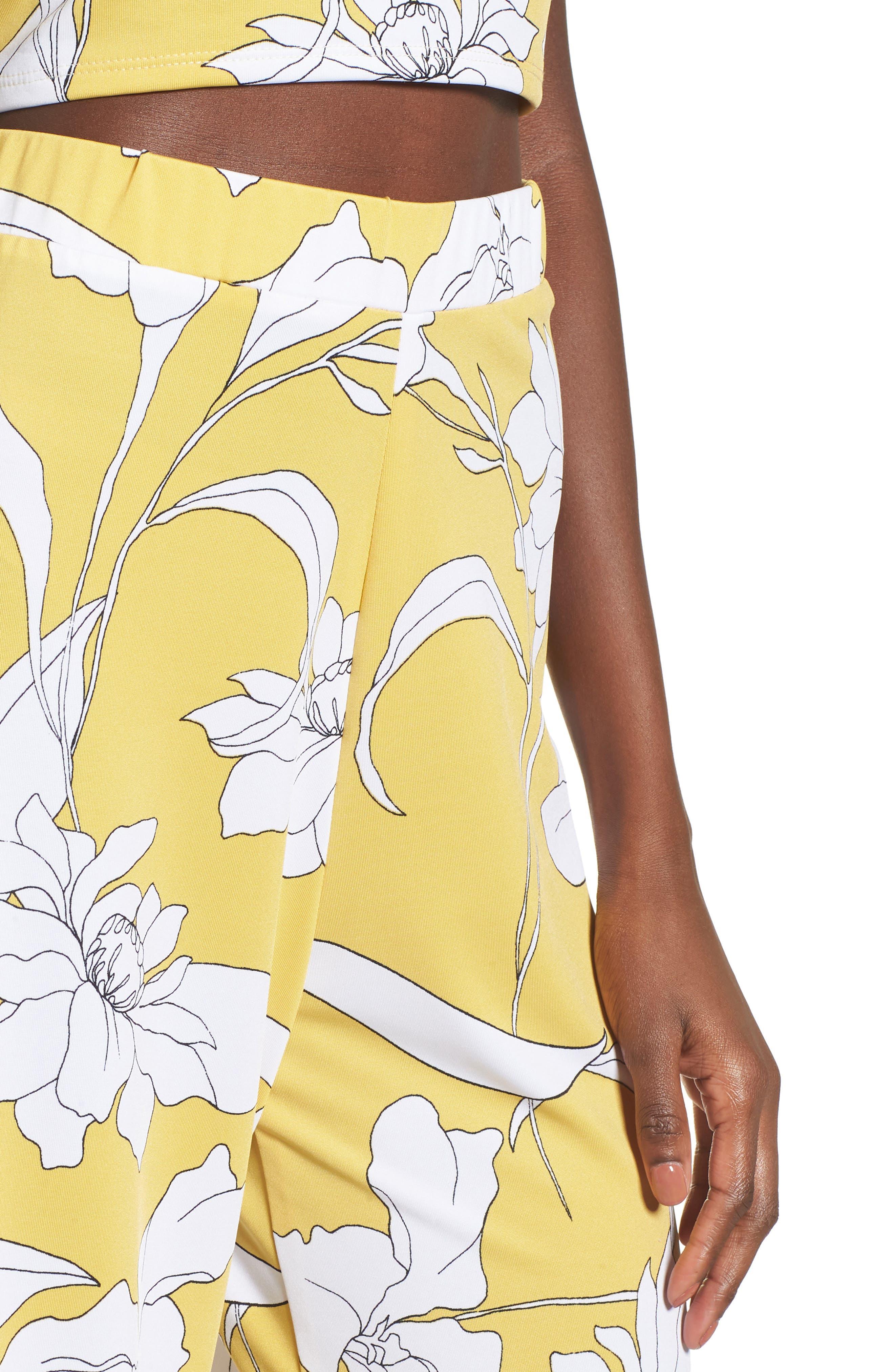 Floral Print Wide Leg Crop Pants,                             Alternate thumbnail 4, color,                             Yellow Floral