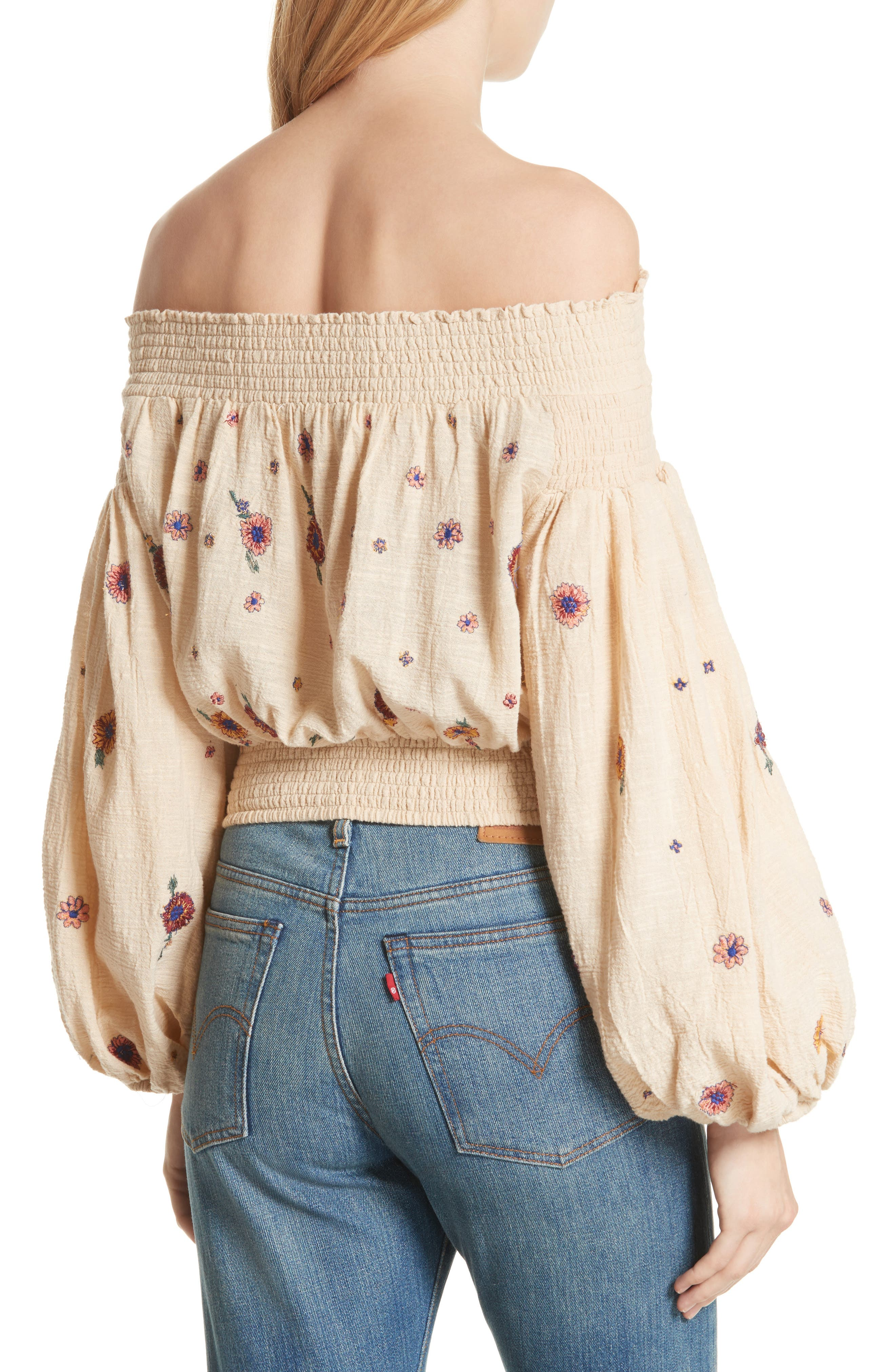 Saachi Smocked Off the Shoulder Top,                             Alternate thumbnail 3, color,                             Neutral