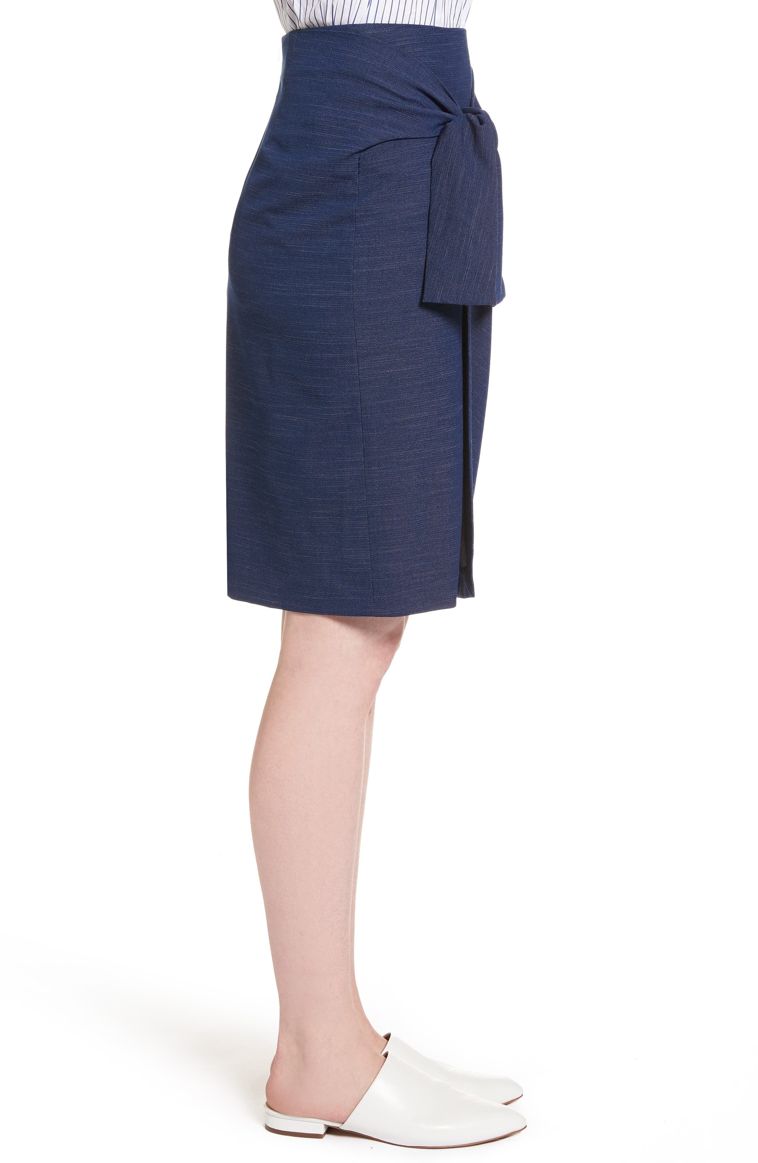 Side Tie Pencil Skirt,                             Alternate thumbnail 3, color,                             Dark Chambray