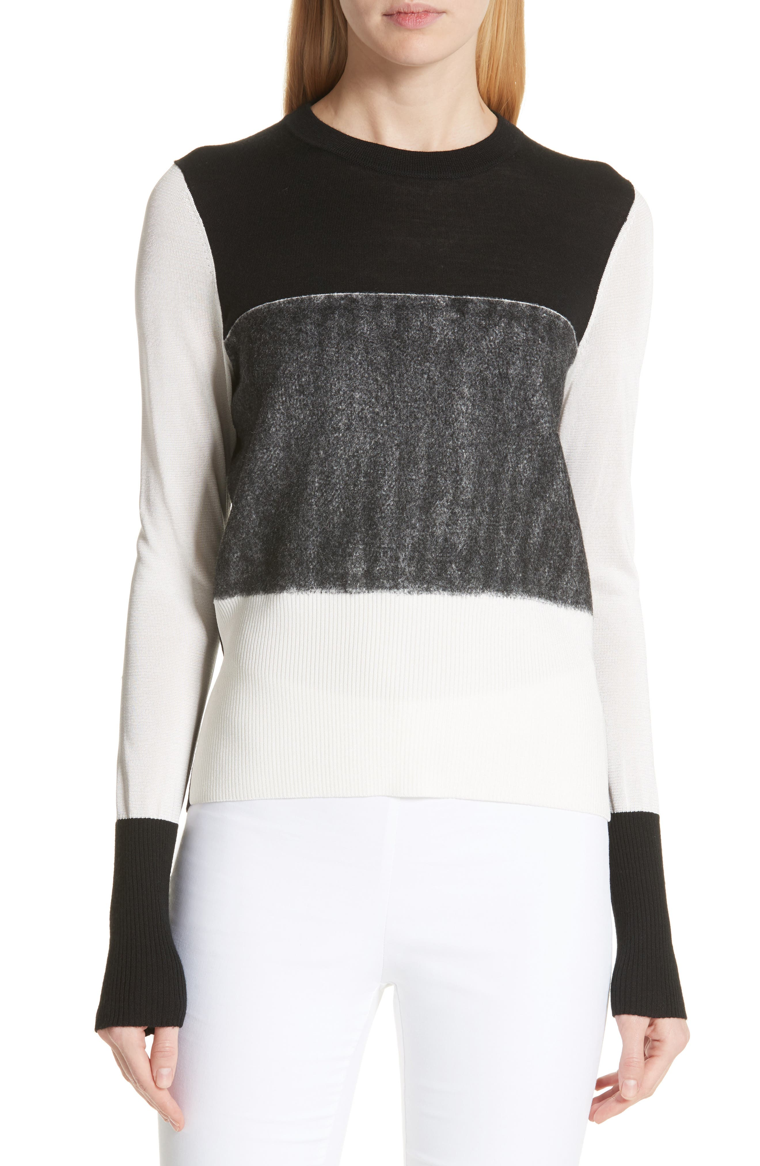Marissa Colorblock Sweater,                             Main thumbnail 1, color,                             Black/ Ivory