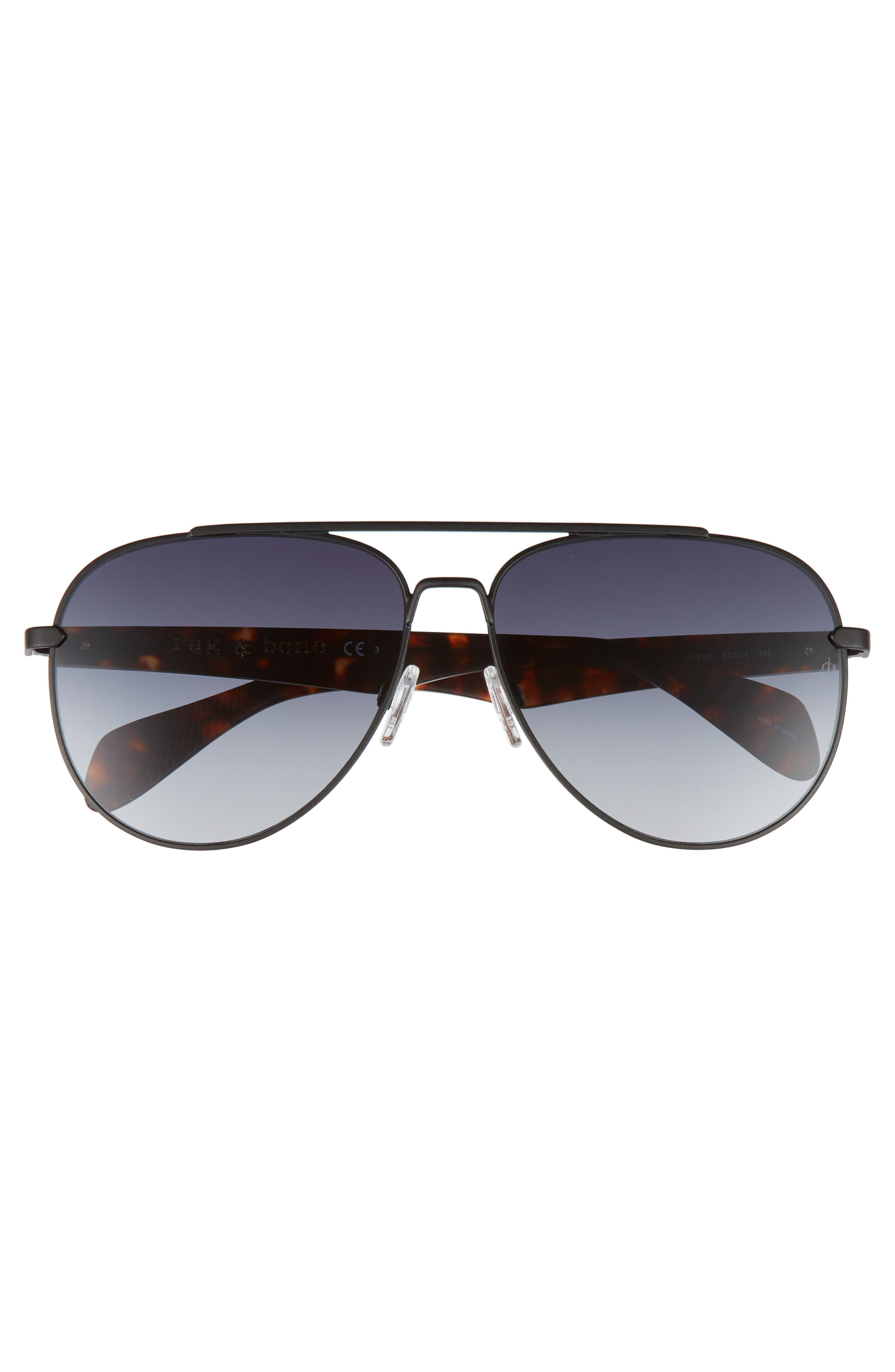 62mm Aviator Sunglasses,                             Alternate thumbnail 2, color,                             Matte Black
