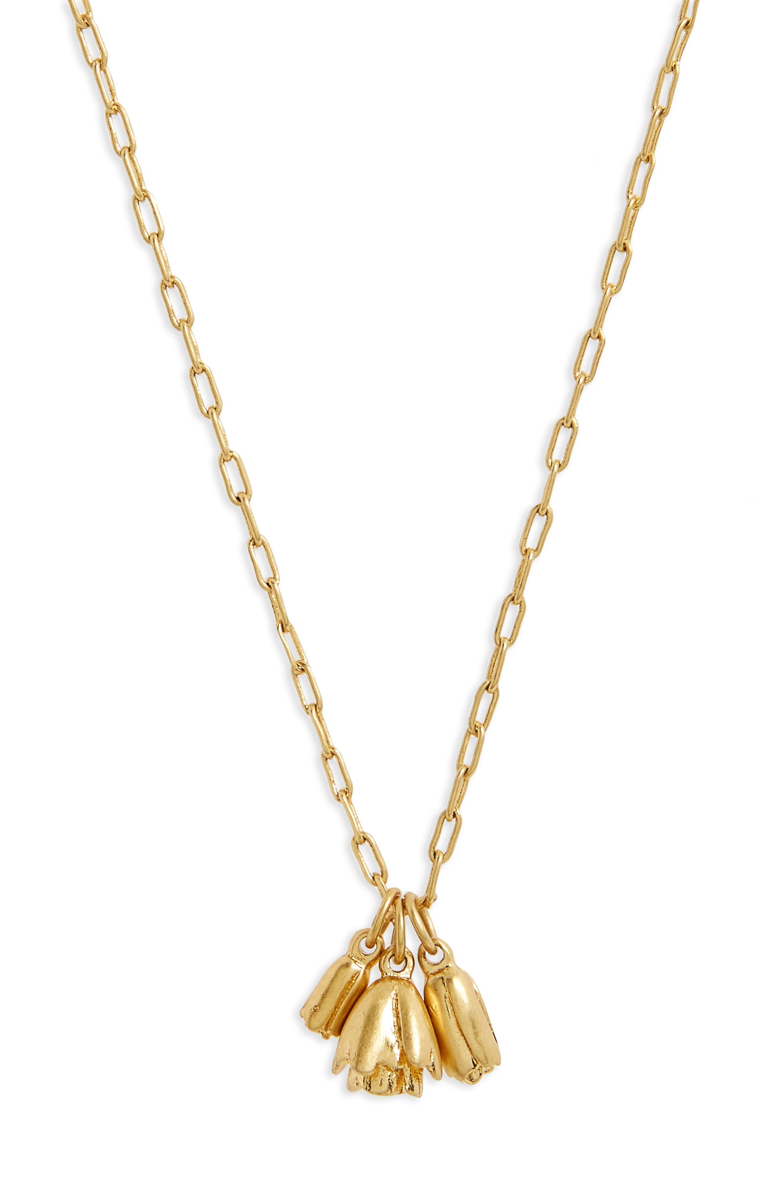 Flower Bud Pendant Necklace,                             Main thumbnail 1, color,                             Vintage Gold