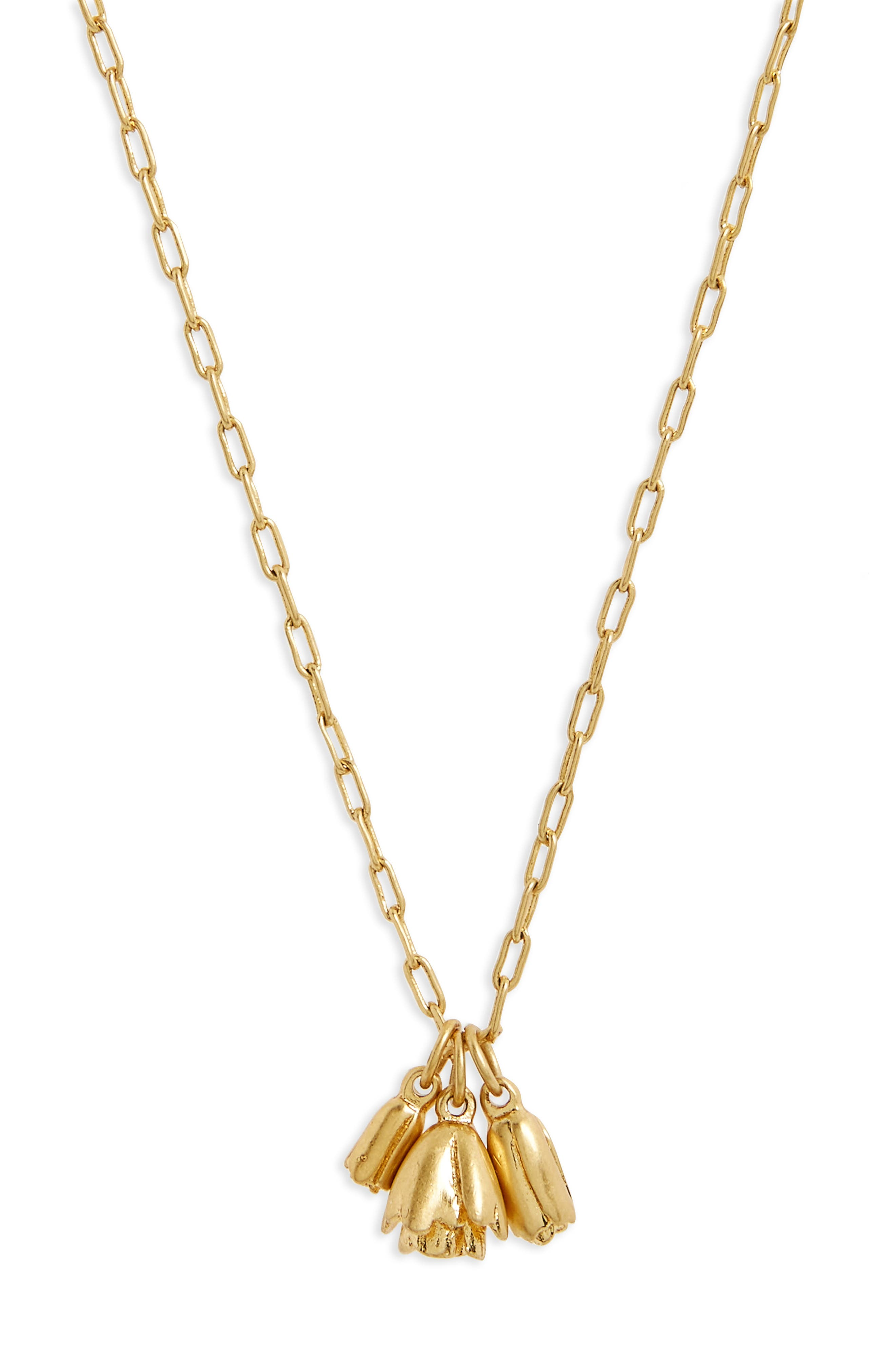 Flower Bud Pendant Necklace,                         Main,                         color, Vintage Gold