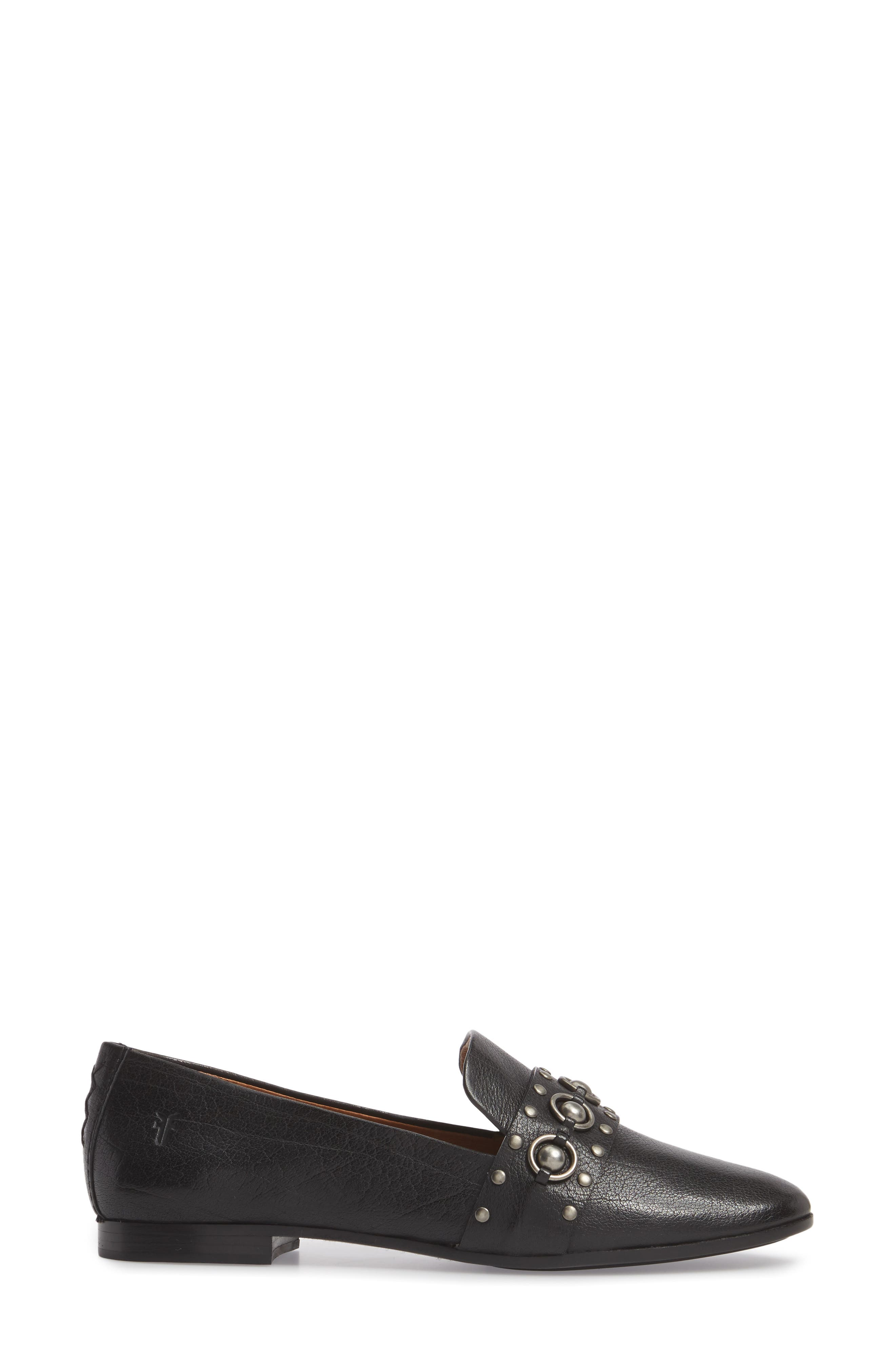 Terri Stud Loafer,                             Alternate thumbnail 3, color,                             Black Leather