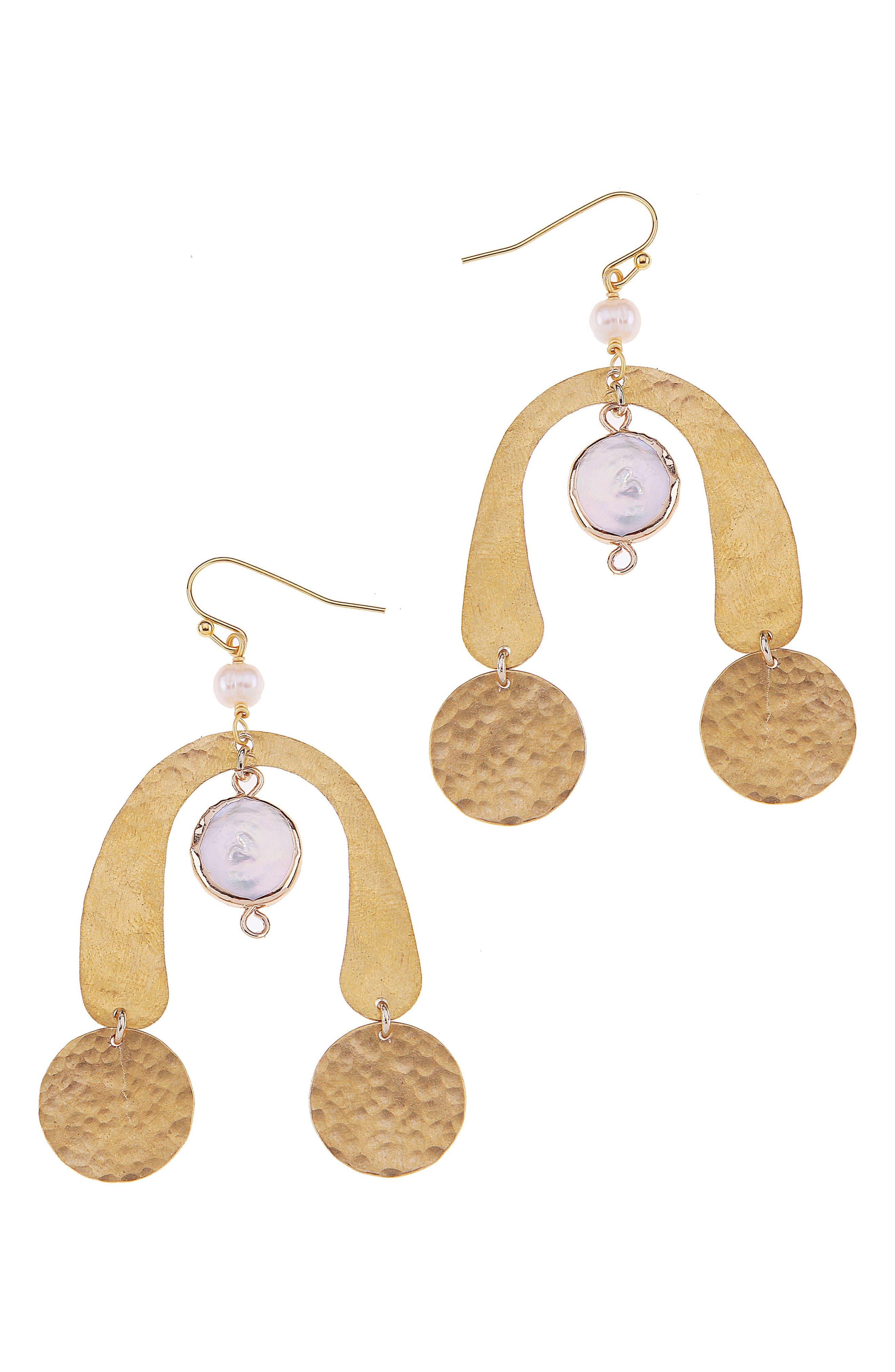 Alternate Image 1 Selected - Nakamol Design Brass Coin & Freshwater Pearl Statement Earrings