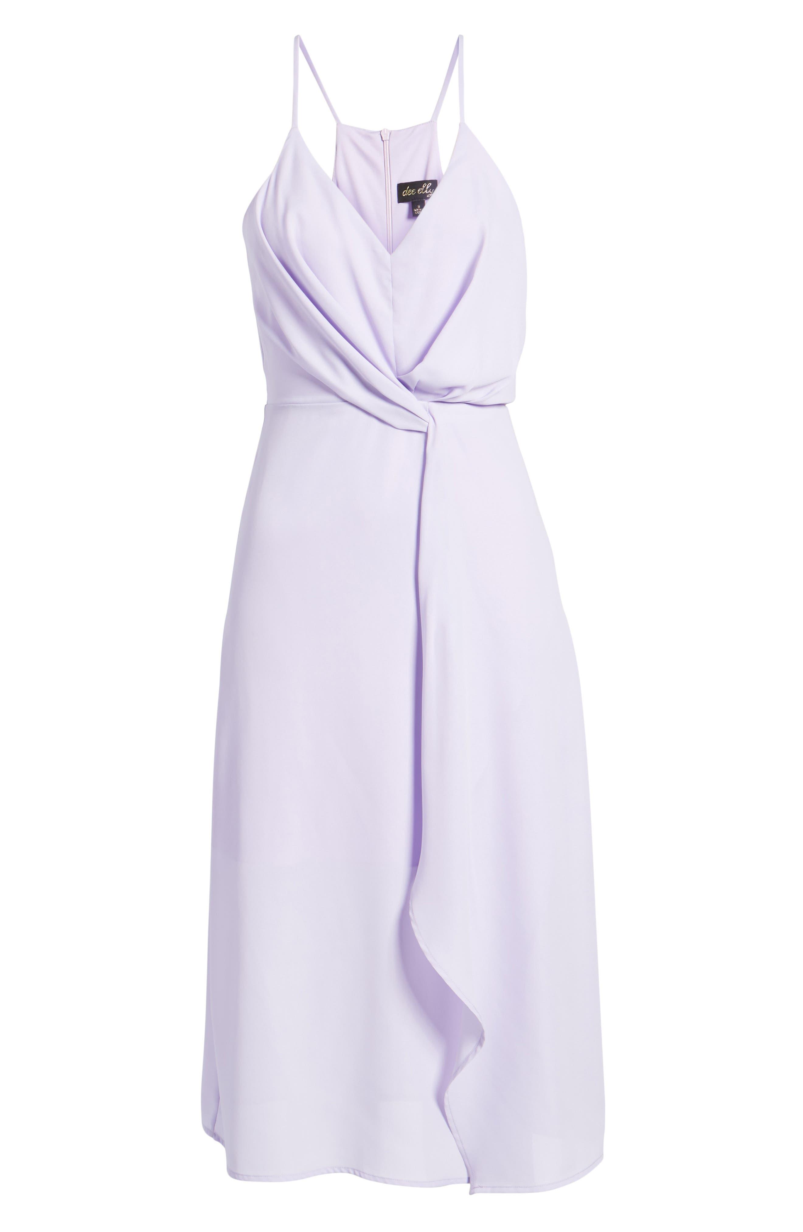 Knotted Waist Midi Dress,                             Alternate thumbnail 6, color,                             Lilac