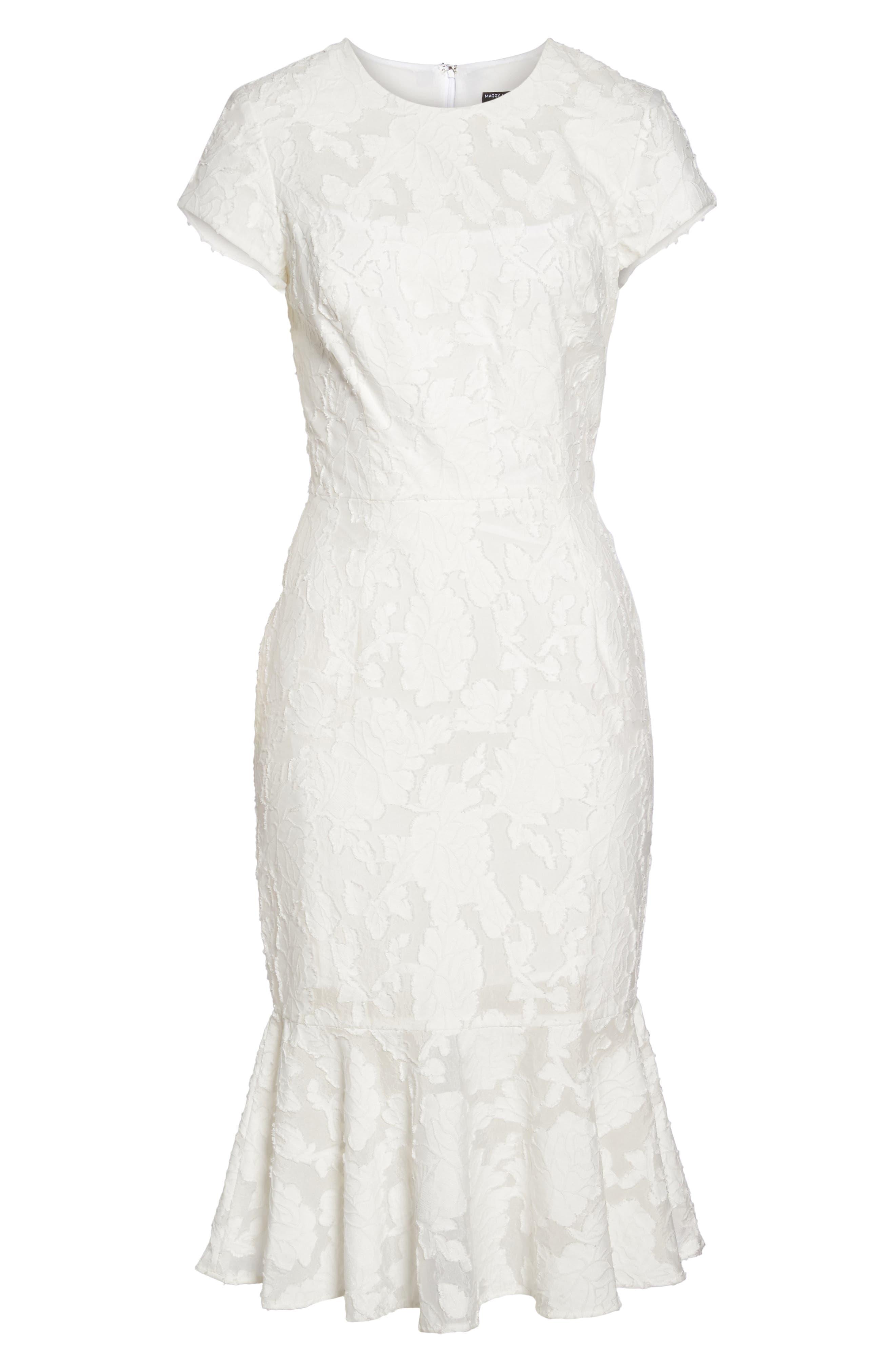 Lace Flare Hem Midi Dress,                             Alternate thumbnail 6, color,                             White