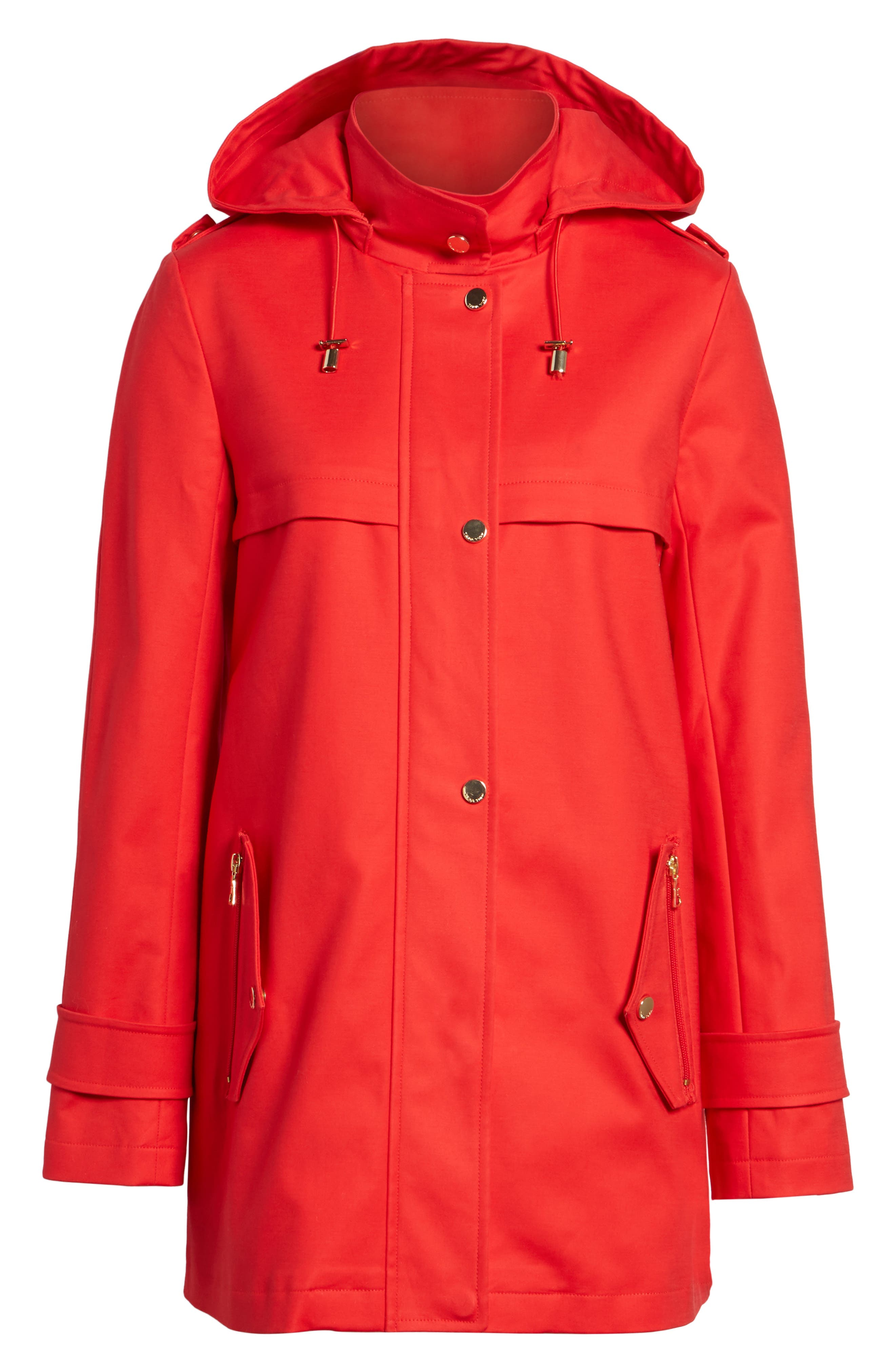 A-Line Rain Jacket,                             Alternate thumbnail 6, color,                             Red