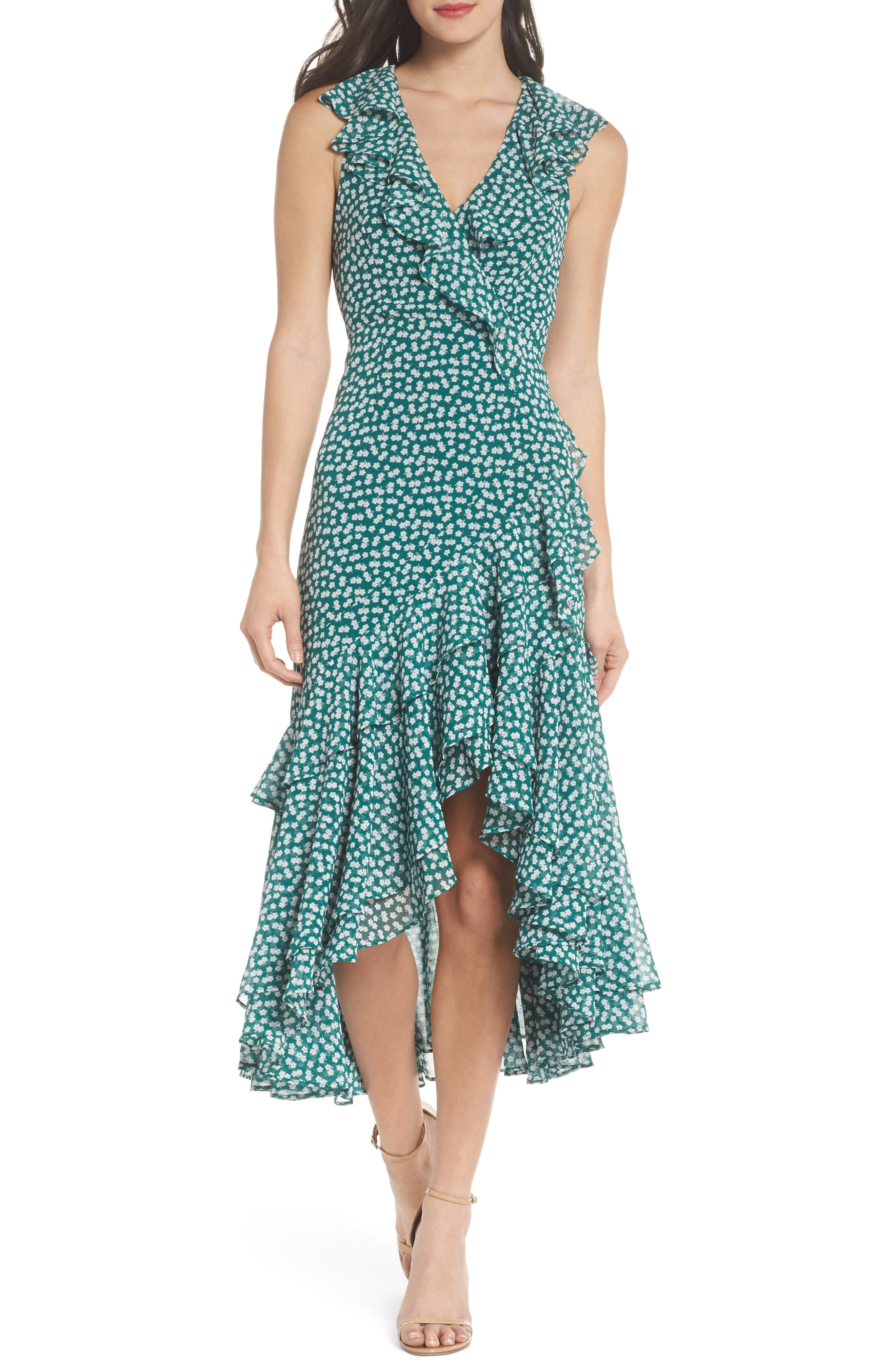 Be About You Ruffle Midi Dress,                             Main thumbnail 1, color,                             Green Daisy