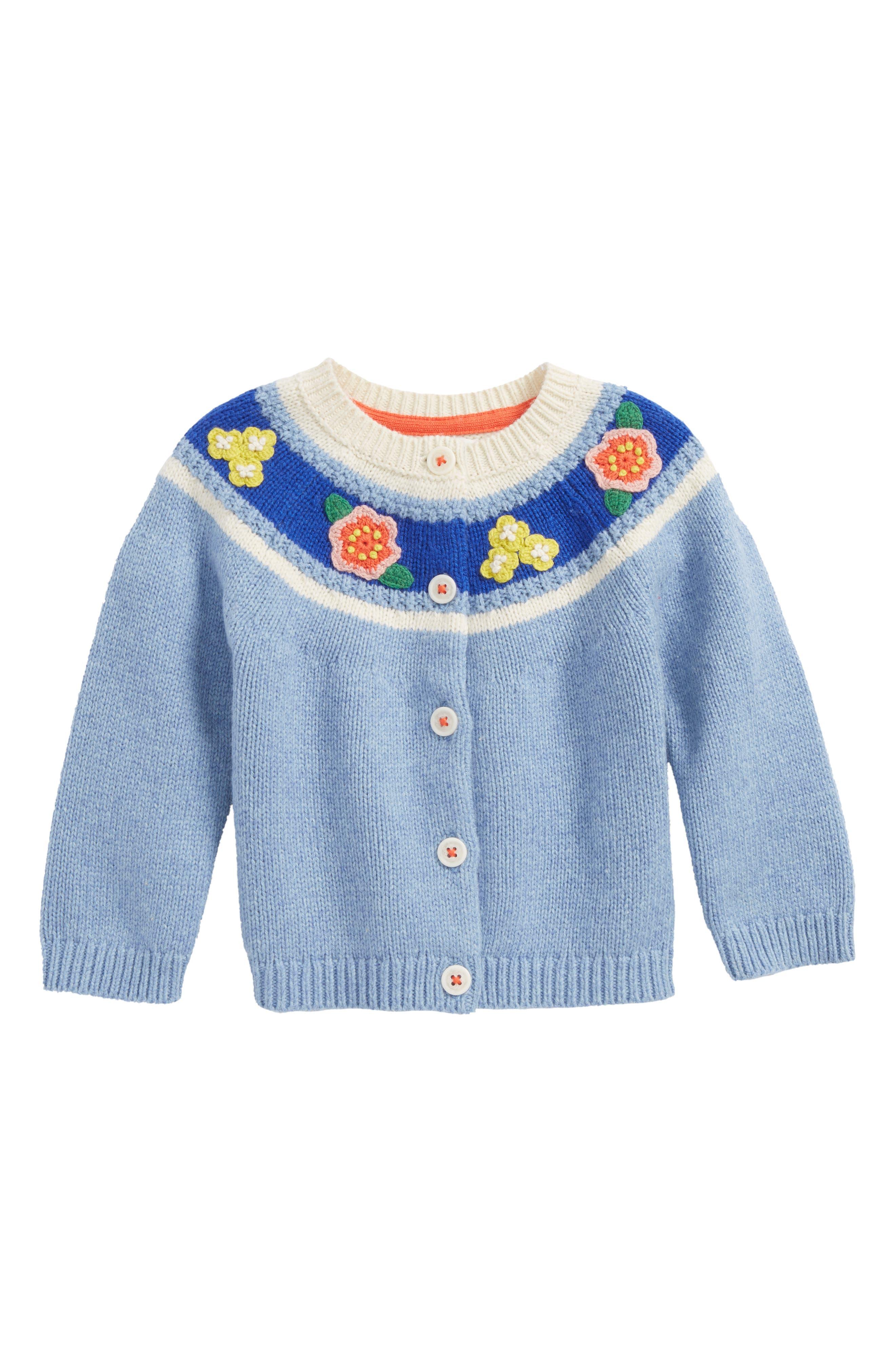 Main Image - Mini Boden Crochet Flower Cardigan (Baby Girls & Toddler Girls)