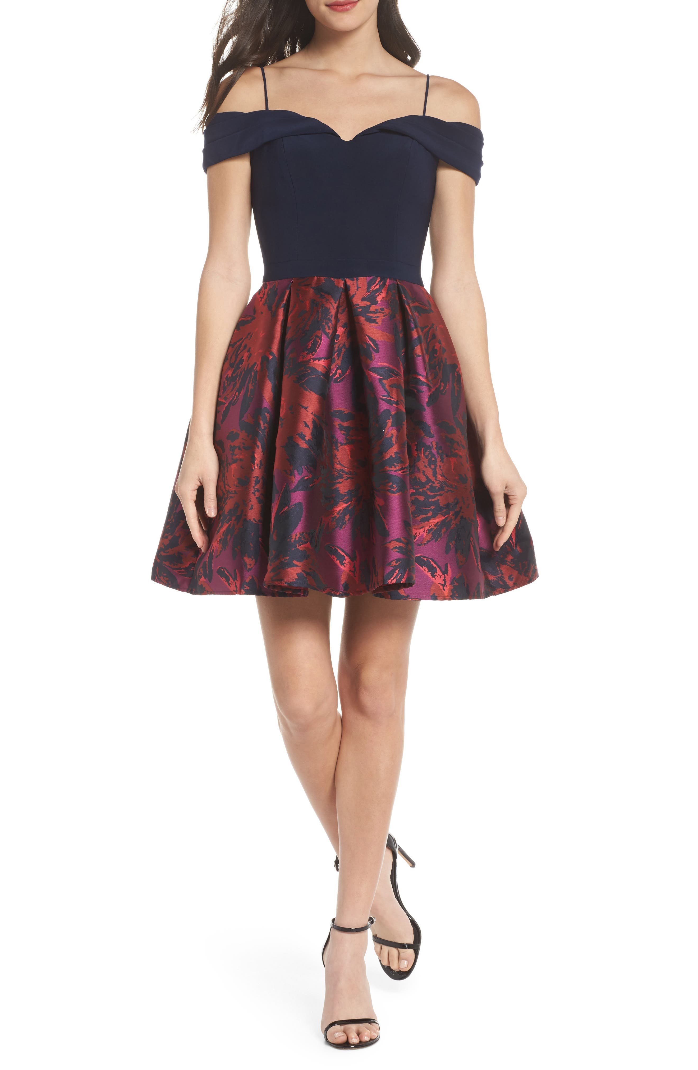 Cold Shoulder Fit & Flare Dress,                             Main thumbnail 1, color,                             Navy/ Wine