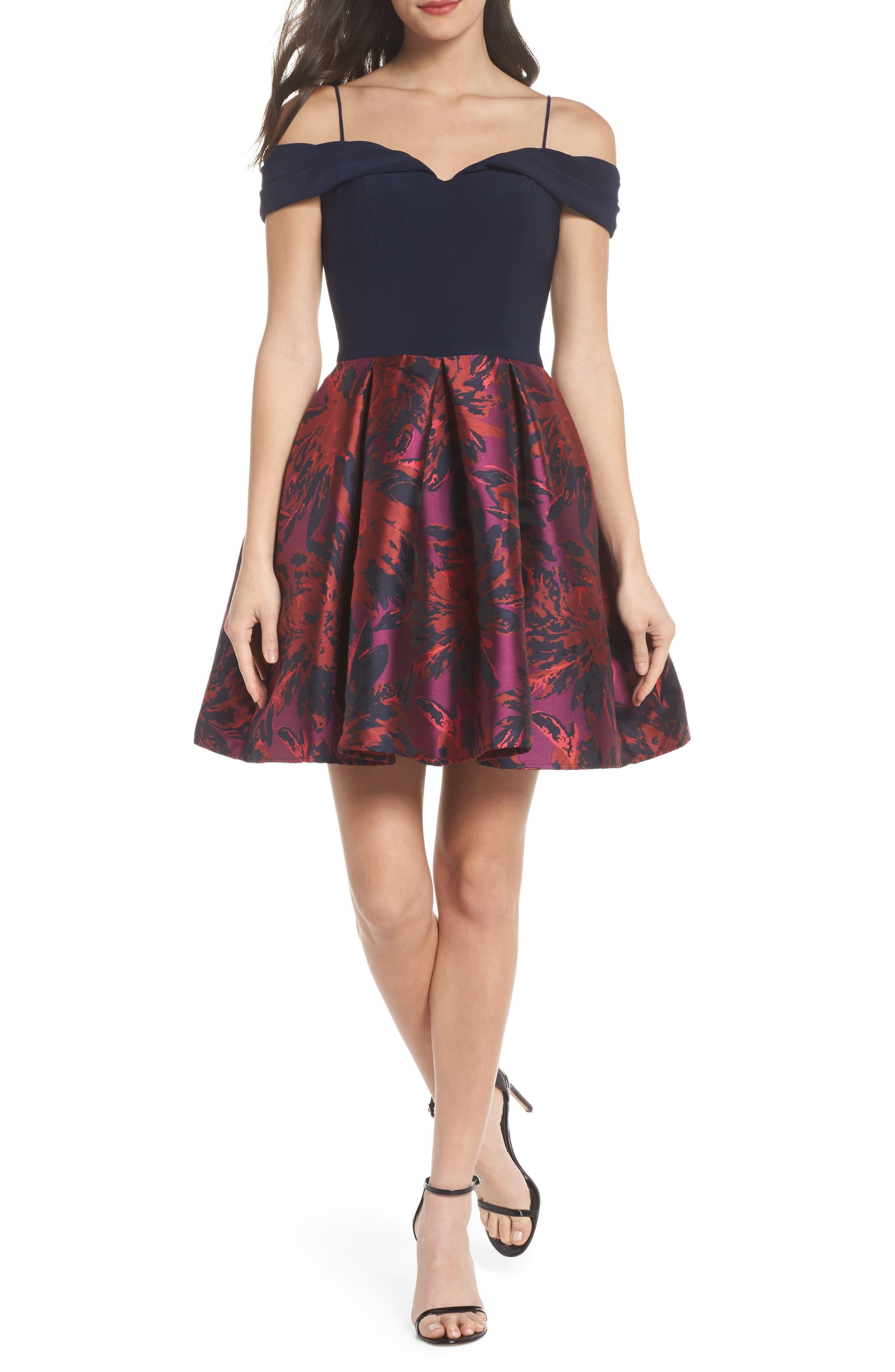 Cold Shoulder Fit & Flare Dress,                         Main,                         color, Navy/ Wine