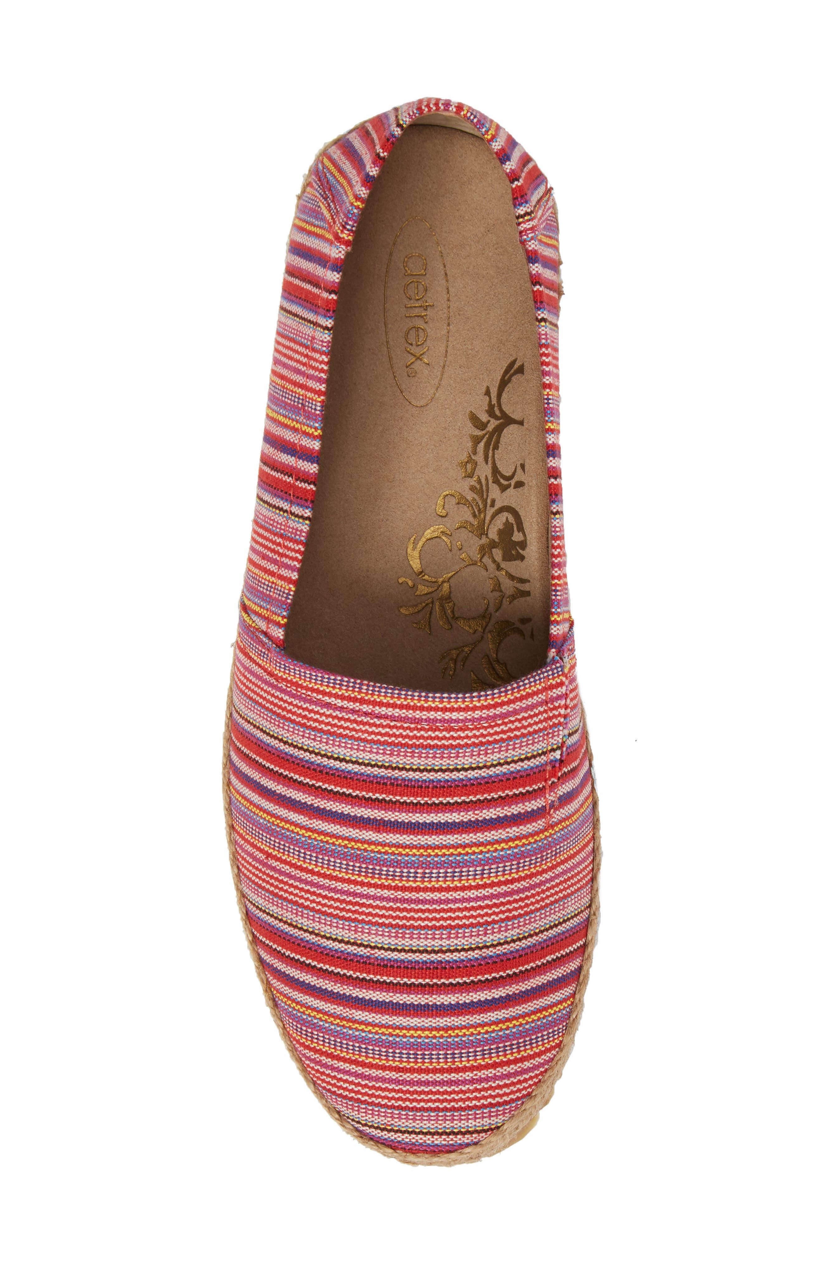 Kylie Slip-On,                             Alternate thumbnail 5, color,                             Pink Stripe Fabric