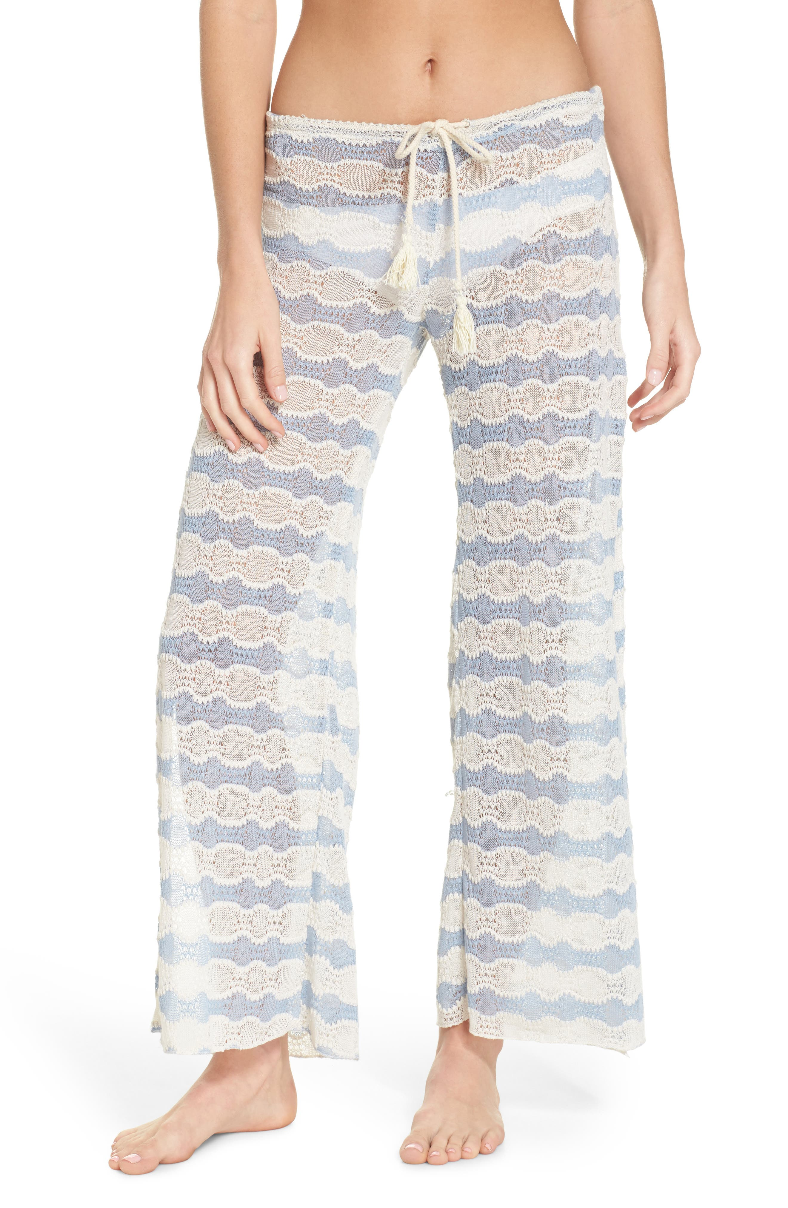Copa Cabana Crochet Cover-Up Pants,                         Main,                         color, Steel