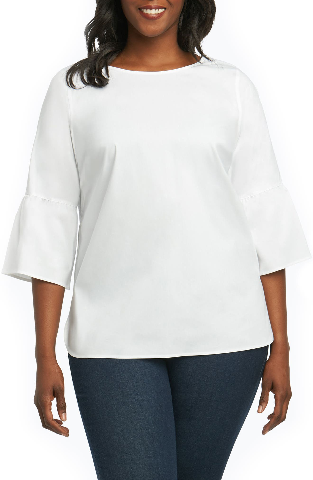 Foxcroft Rory Bell Sleeve Top (Plus Size)