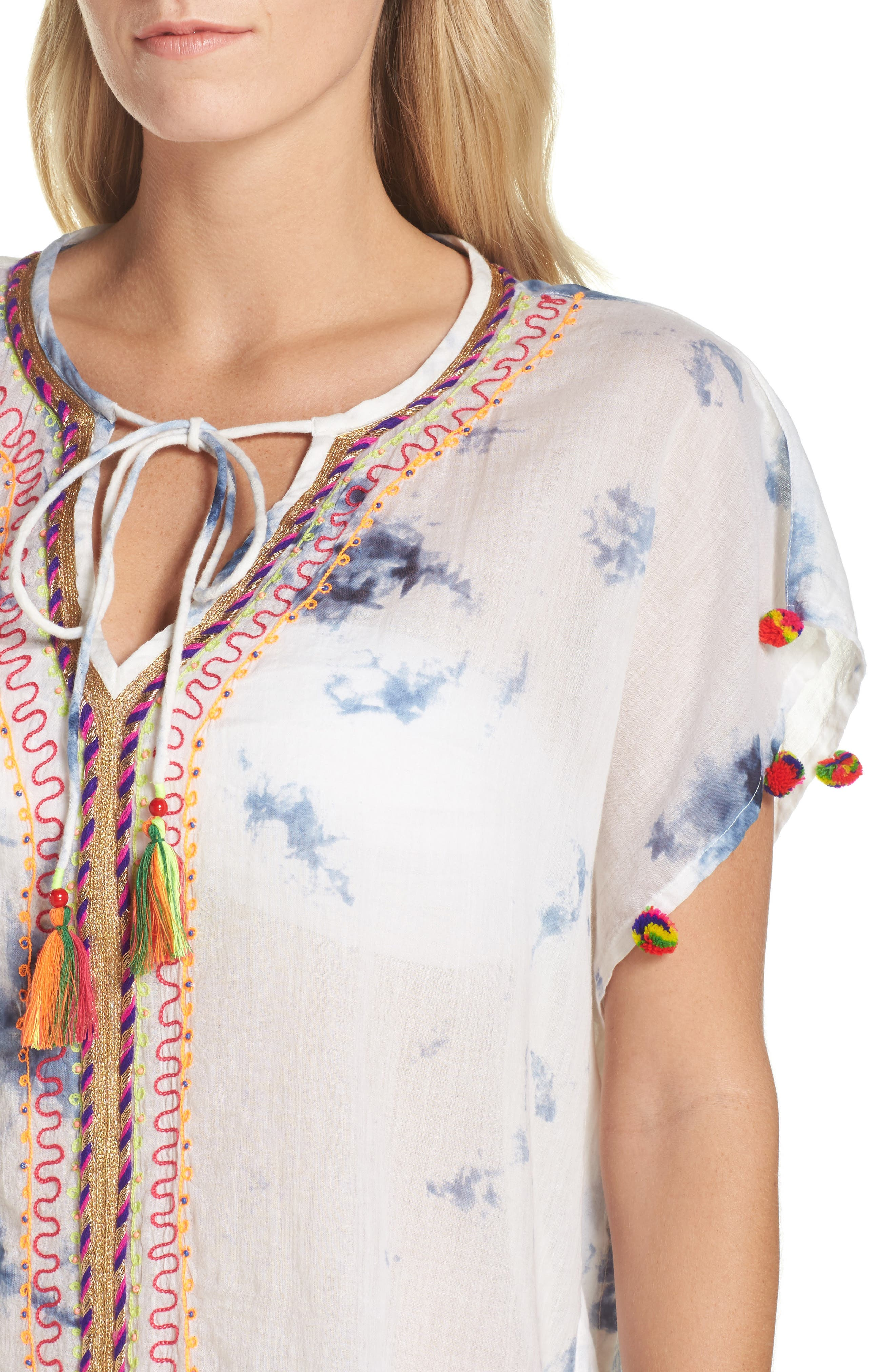 Embroidered Tie-Dye Cover-Up Tunic,                             Alternate thumbnail 4, color,                             Navy Tie Dye