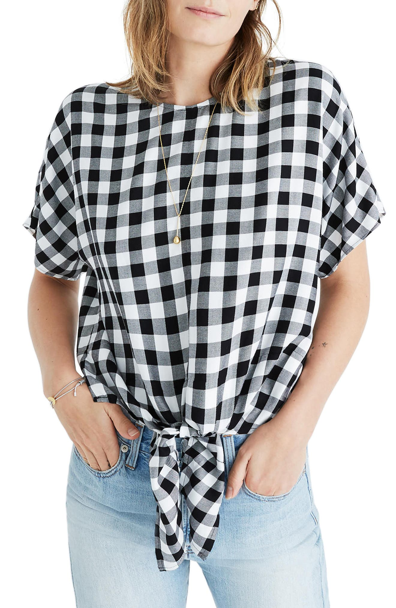 Alternate Image 1 Selected - Madewell Buffalo Check Button Back Tie Top
