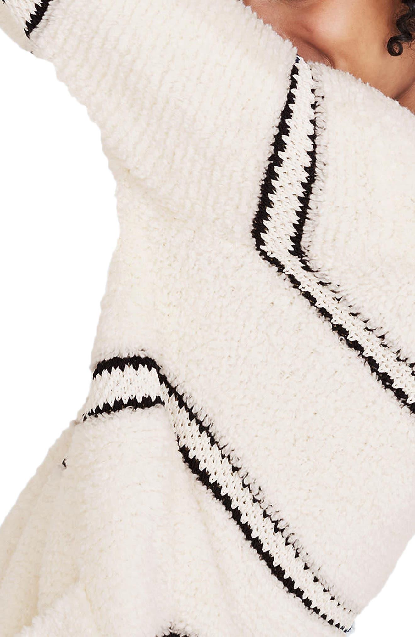 Stripe Bouclé Cardigan Sweater,                             Alternate thumbnail 3, color,                             Bright Ivory