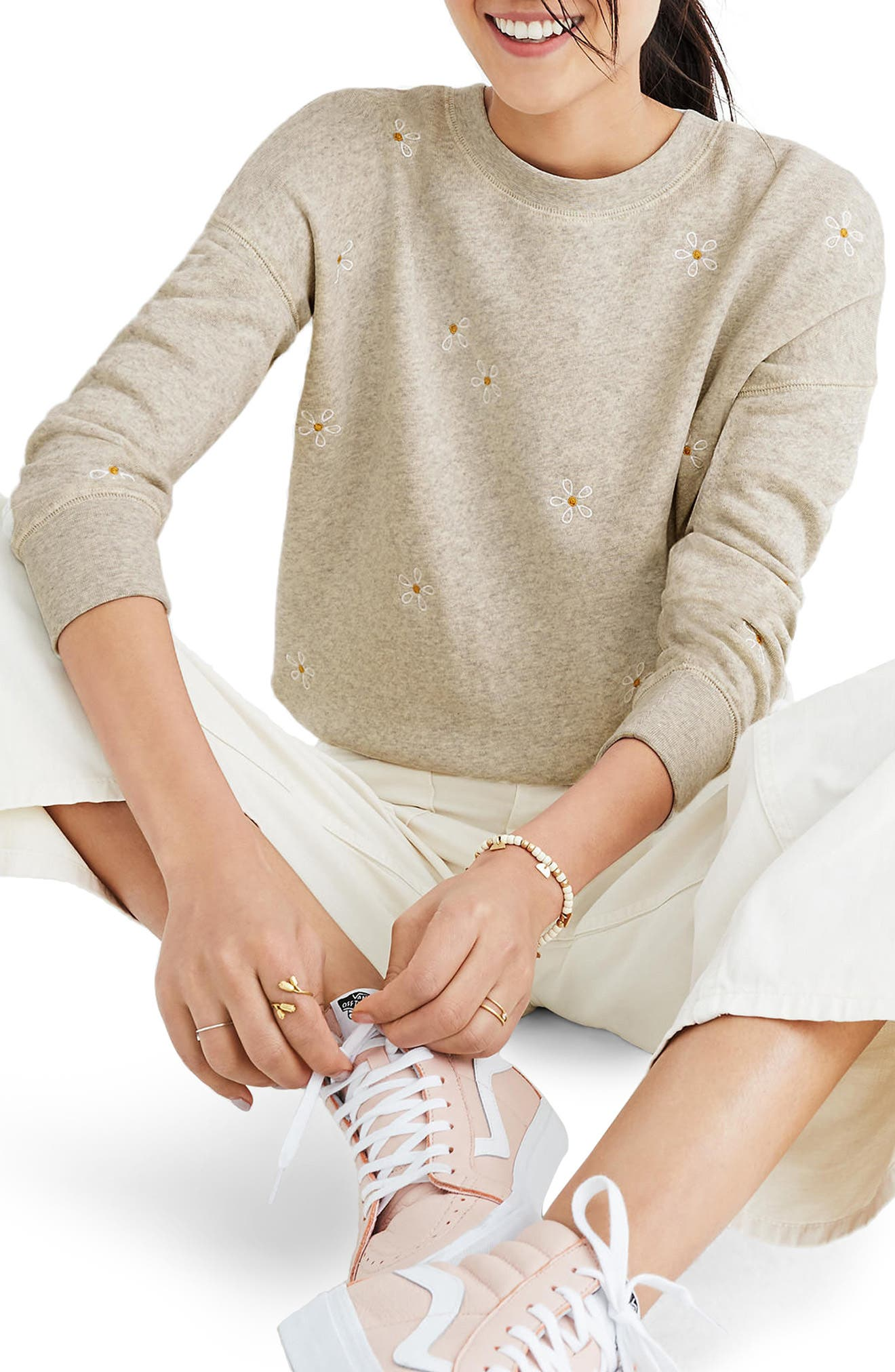 Daisy Embroidered Sweatshirt,                             Main thumbnail 1, color,                             Hthr Pearl