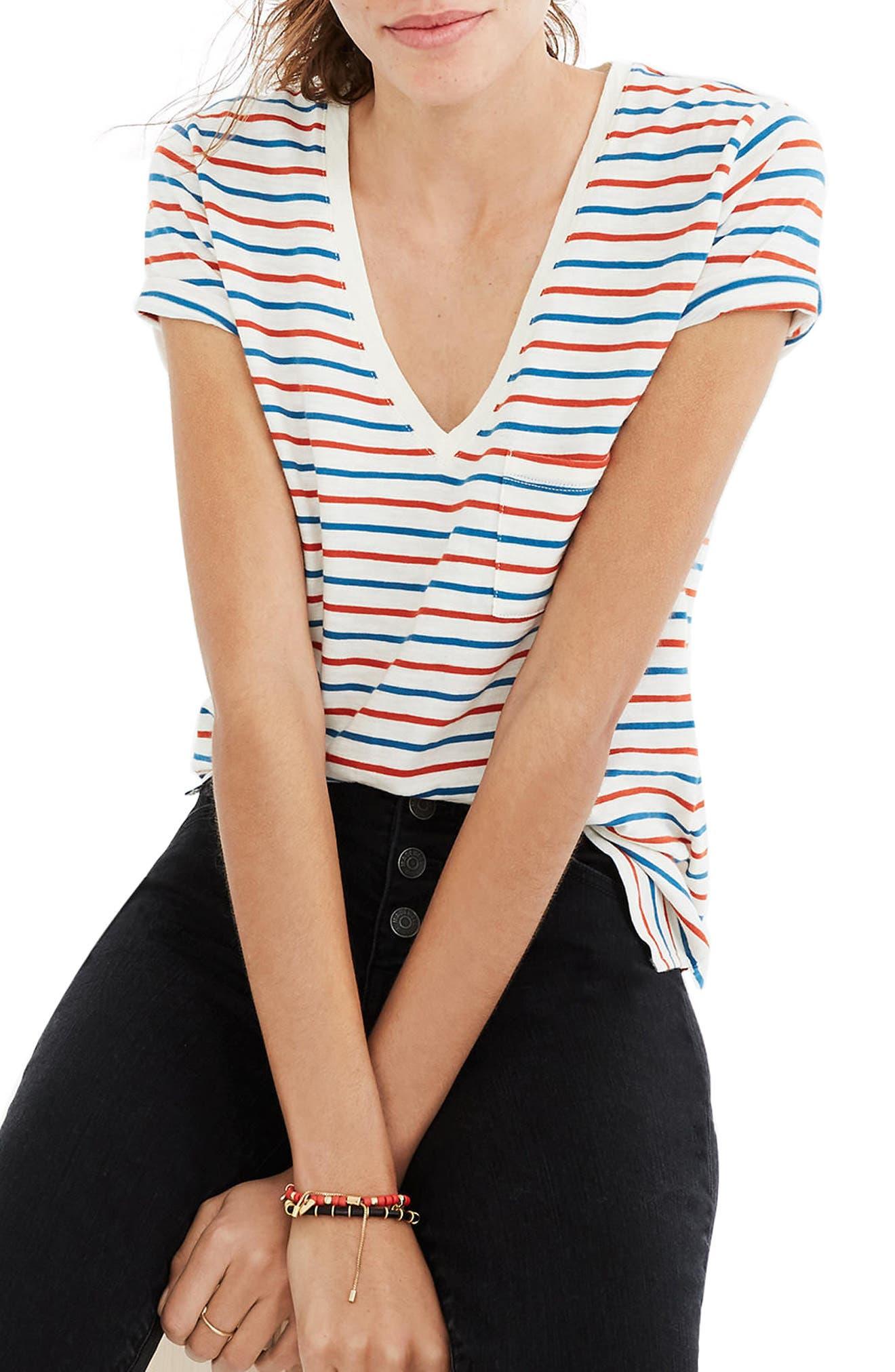 Madewell Whisper Cotton Stripe V-Neck Tee
