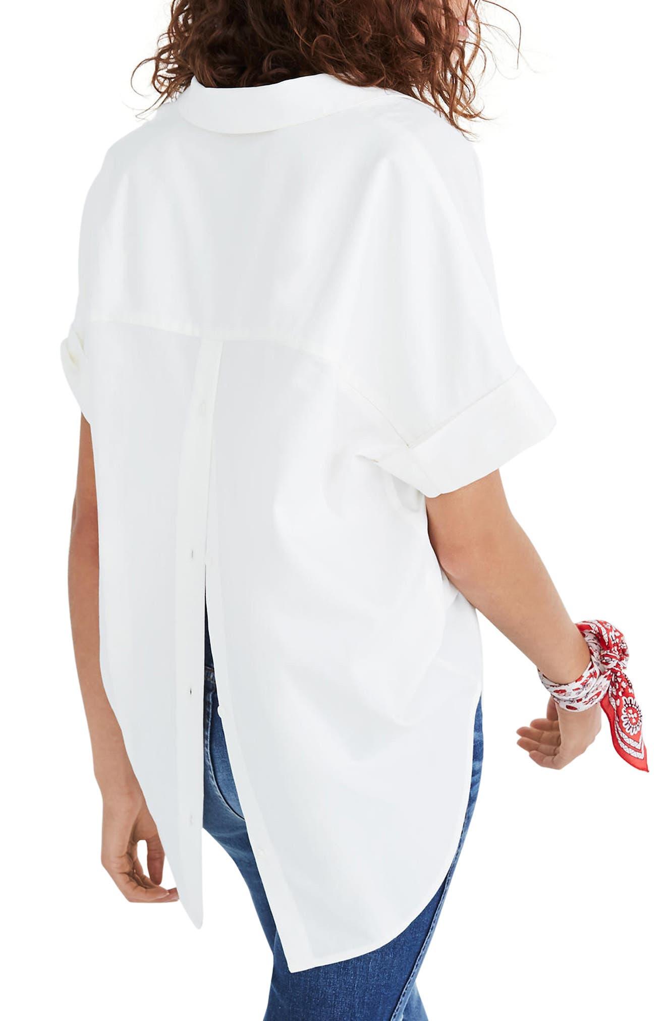 Courier Button Back Shirt,                             Alternate thumbnail 2, color,                             Pure White