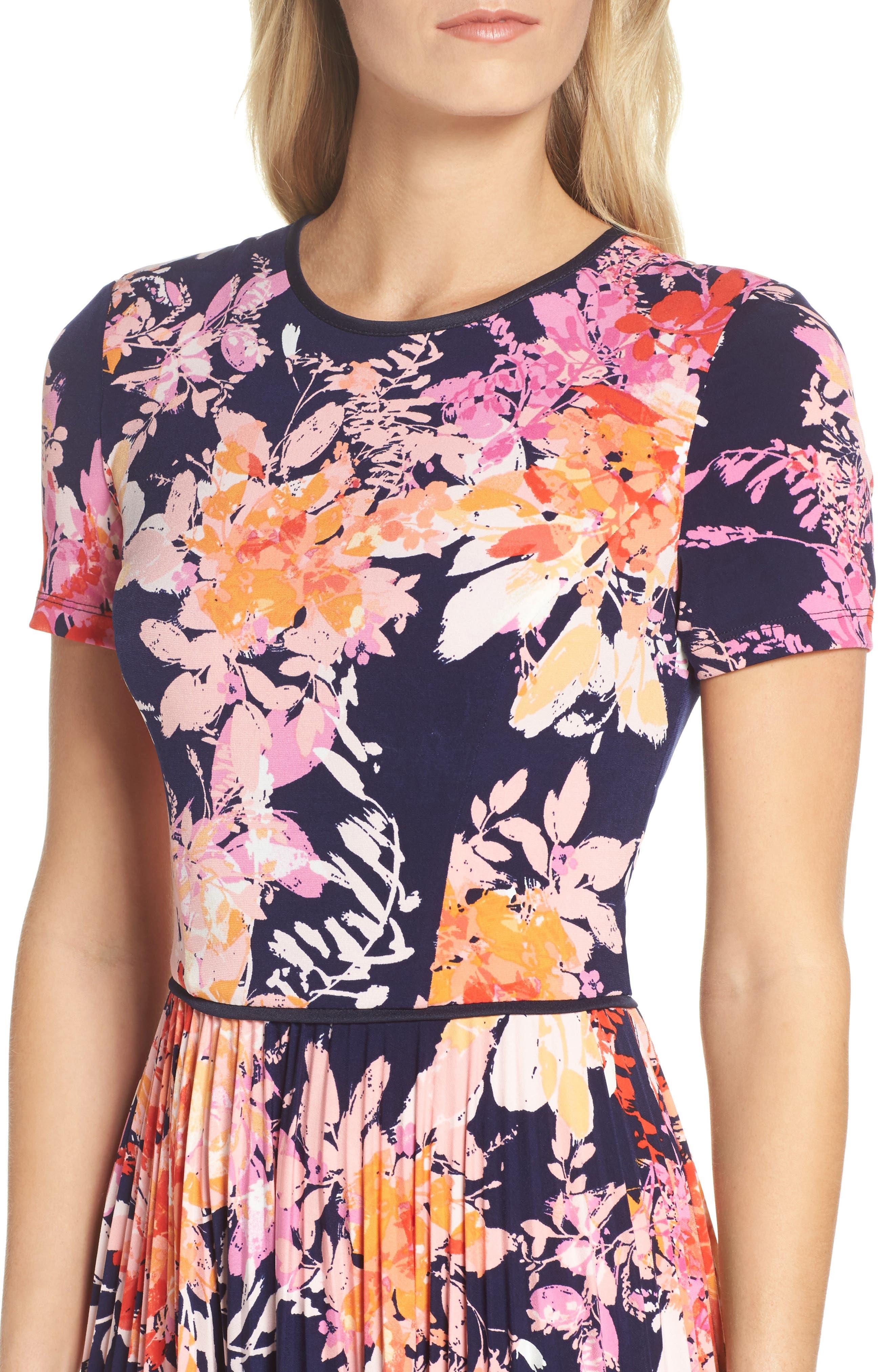 Pleat Fit & Flare Dress,                             Alternate thumbnail 4, color,                             Navy/ Orange
