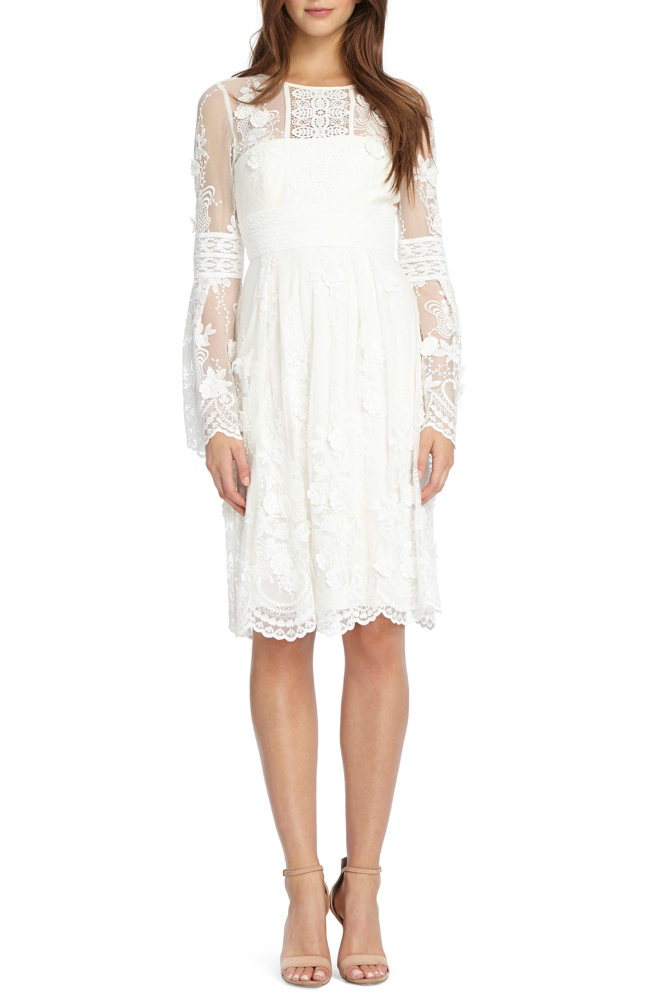 Bell Sleeve Mixed Lace Dress,                         Main,                         color, Ivory Nude