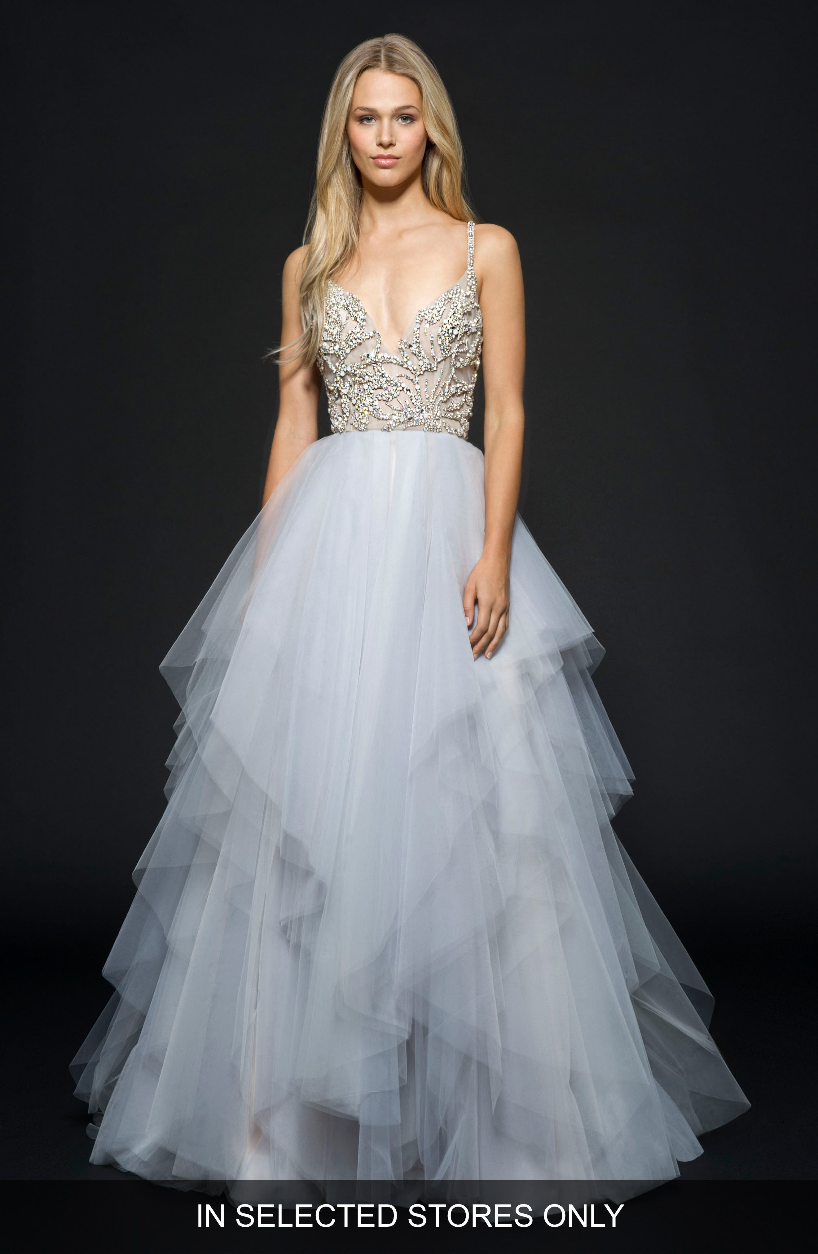 Arlo Beaded Tulle Ballgown,                         Main,                         color, Moonstone