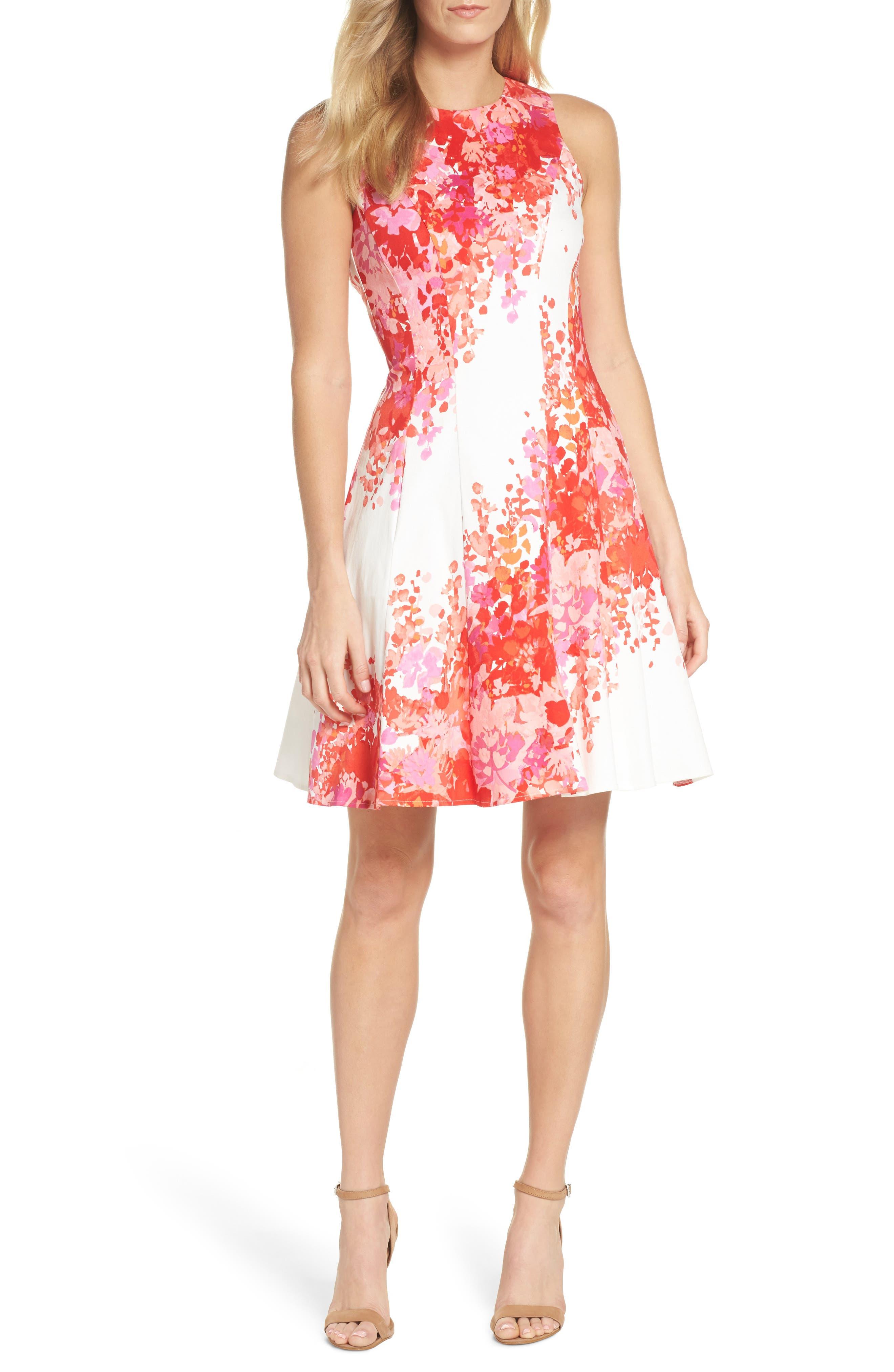 Fit & Flare Dress,                         Main,                         color, Soft White/ Orange